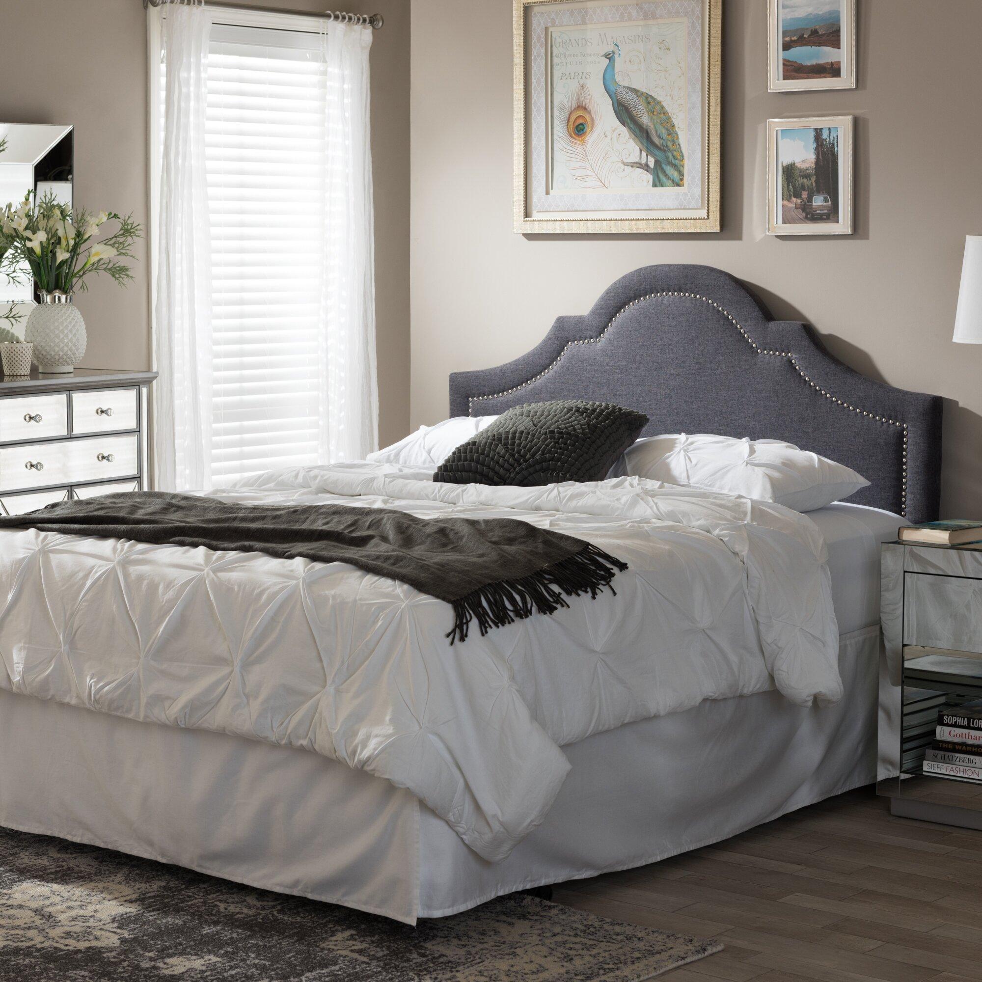 Wholesale interiors baxton studio celio upholstered Grey tufted headboard