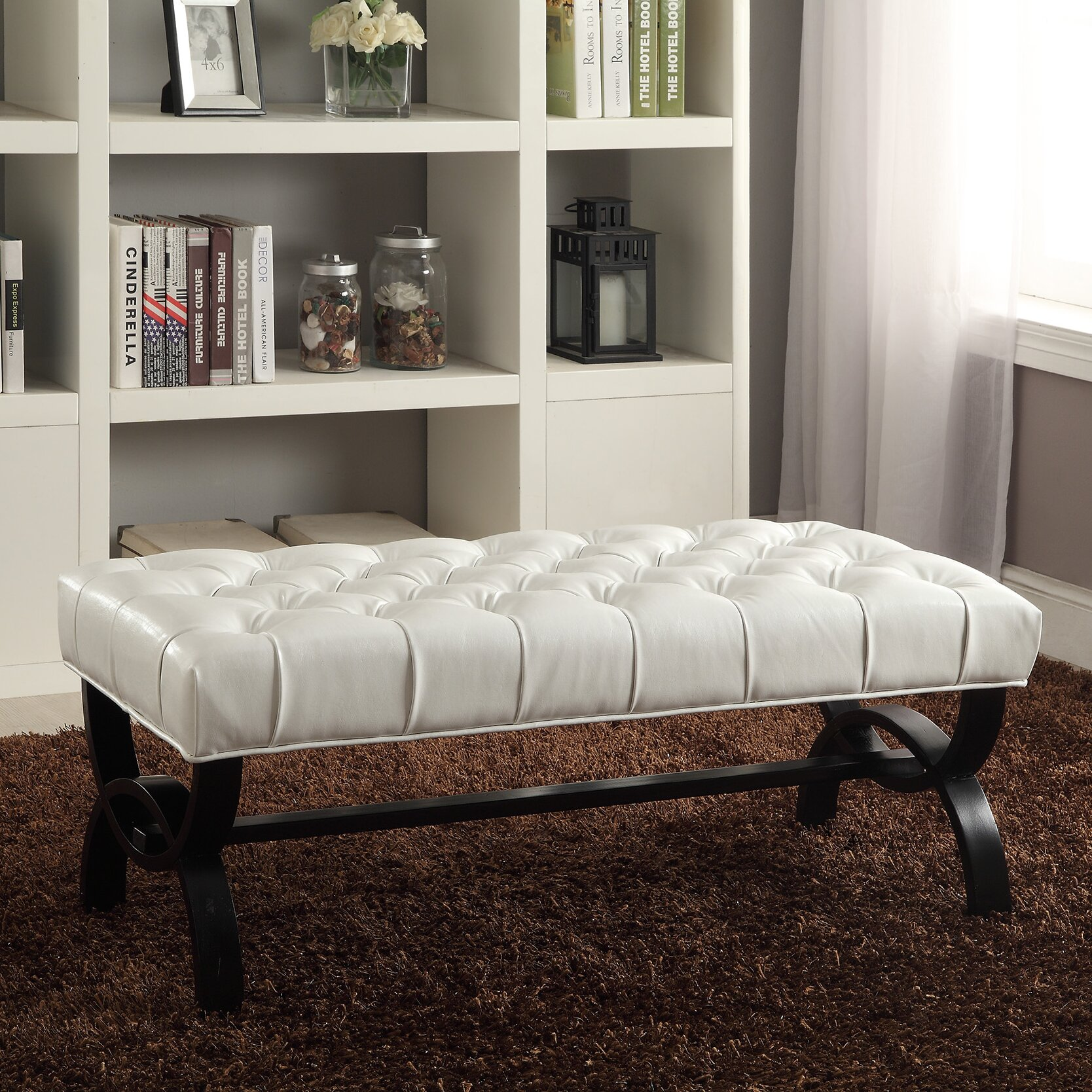 wholesale interiors baxton studio upholstered bedroom bench reviews wayfair. Black Bedroom Furniture Sets. Home Design Ideas