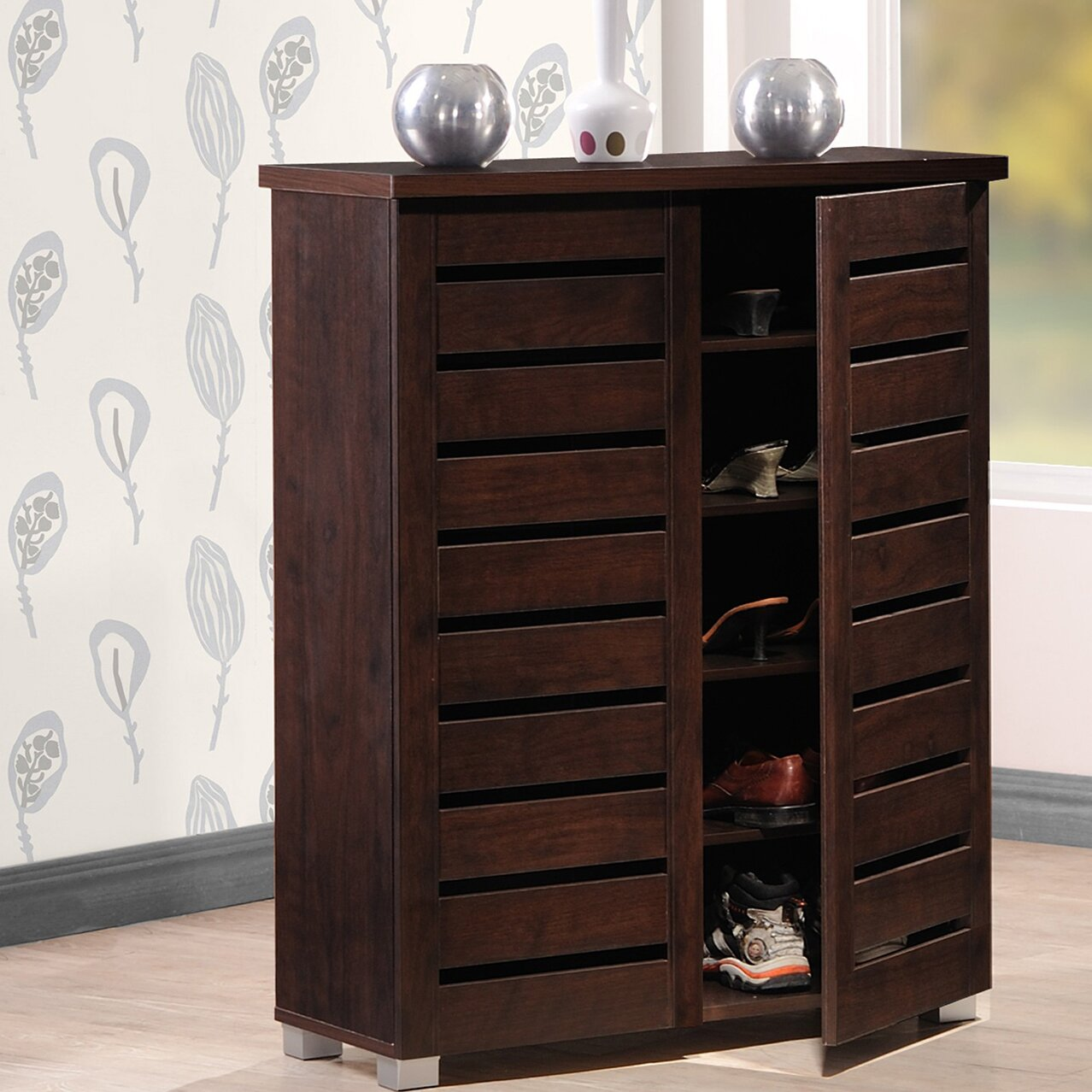 Wholesale interiors baxton studio adalwin 15 pair shoe Entryway storage cabinet