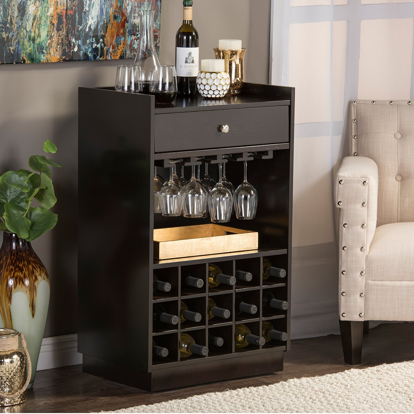 15 Majestic Contemporary Home Bar Designs For Inspiration: Wholesale Interiors Baxton Studio 15 Bottle Tabletop Wine