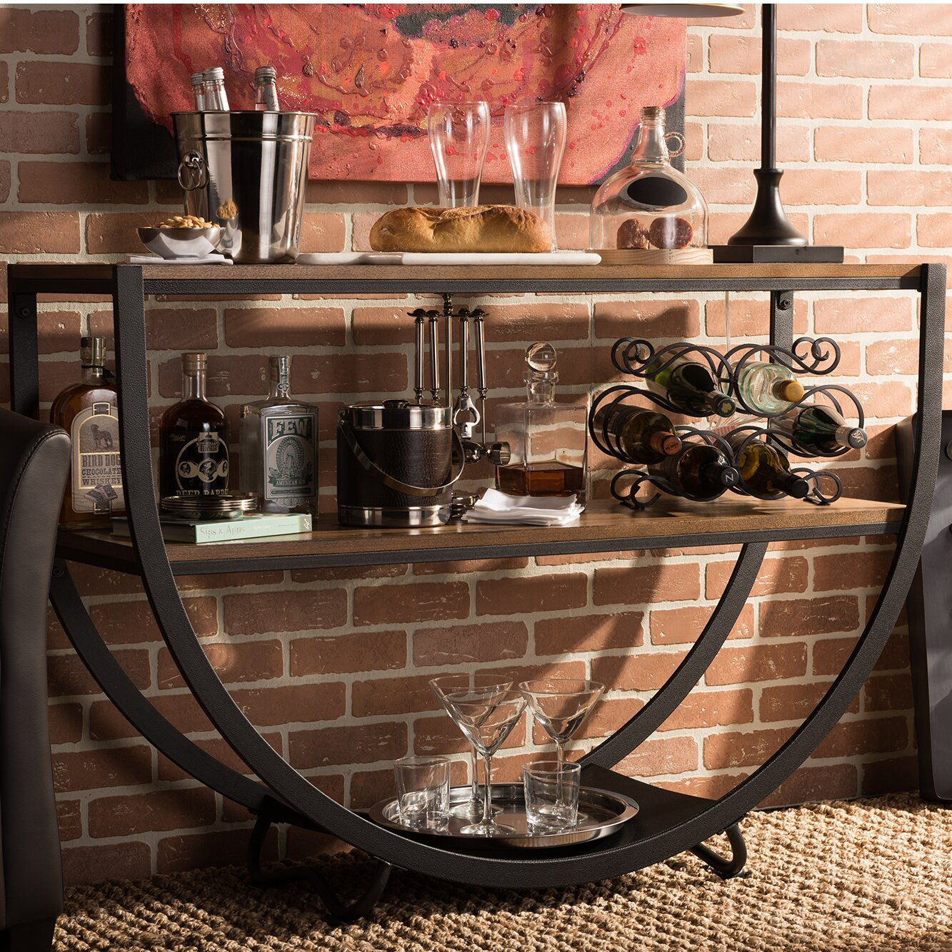 Baxton Studio Brown Industrial Kitchen Cart At Lowes Com: Wholesale Interiors Baxton Studio Blakes Console Table