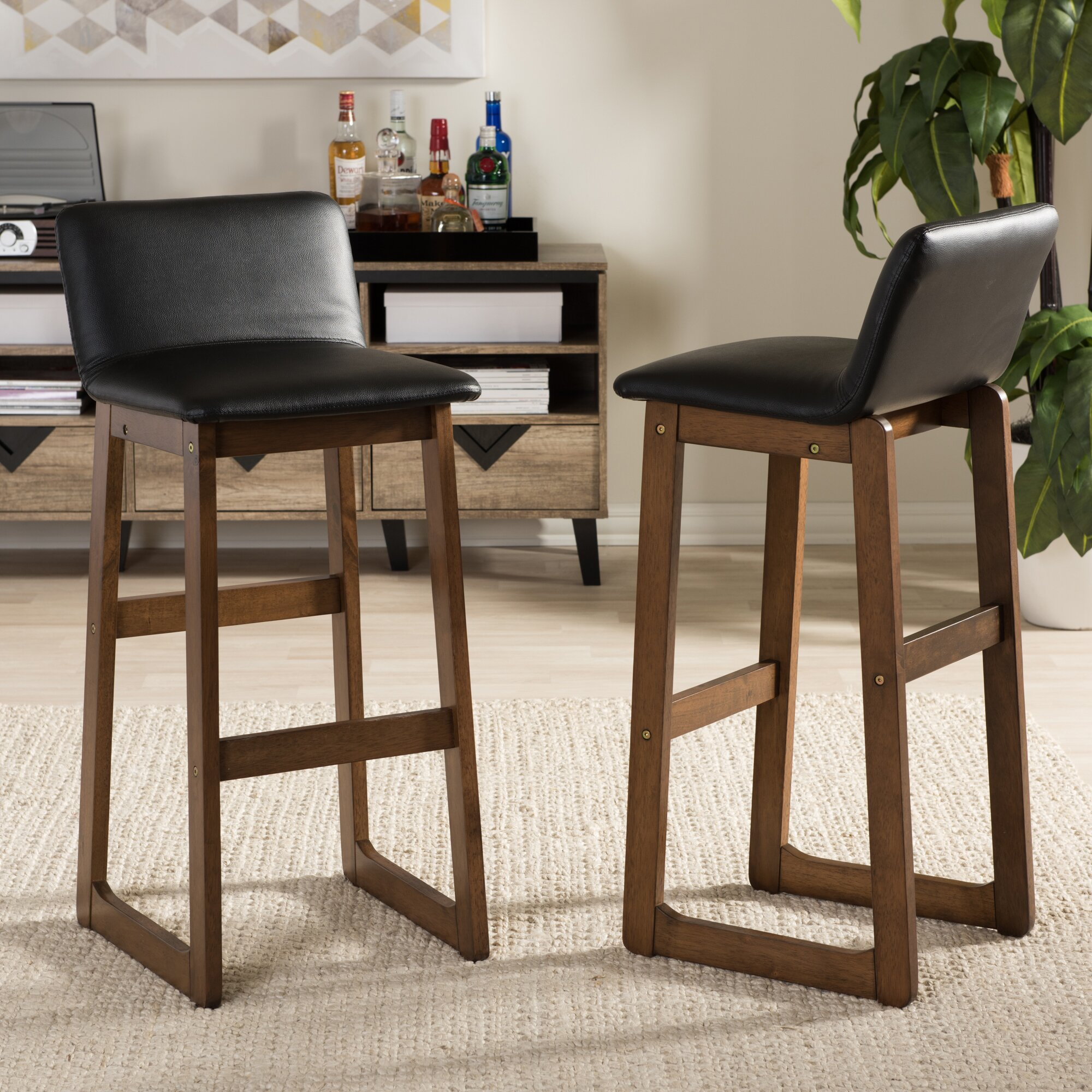 "Wholesale Interiors Cognac Dark Brown Leather Bar Stool: Wholesale Interiors Baxton Studio 29.13"" Bar Stool"