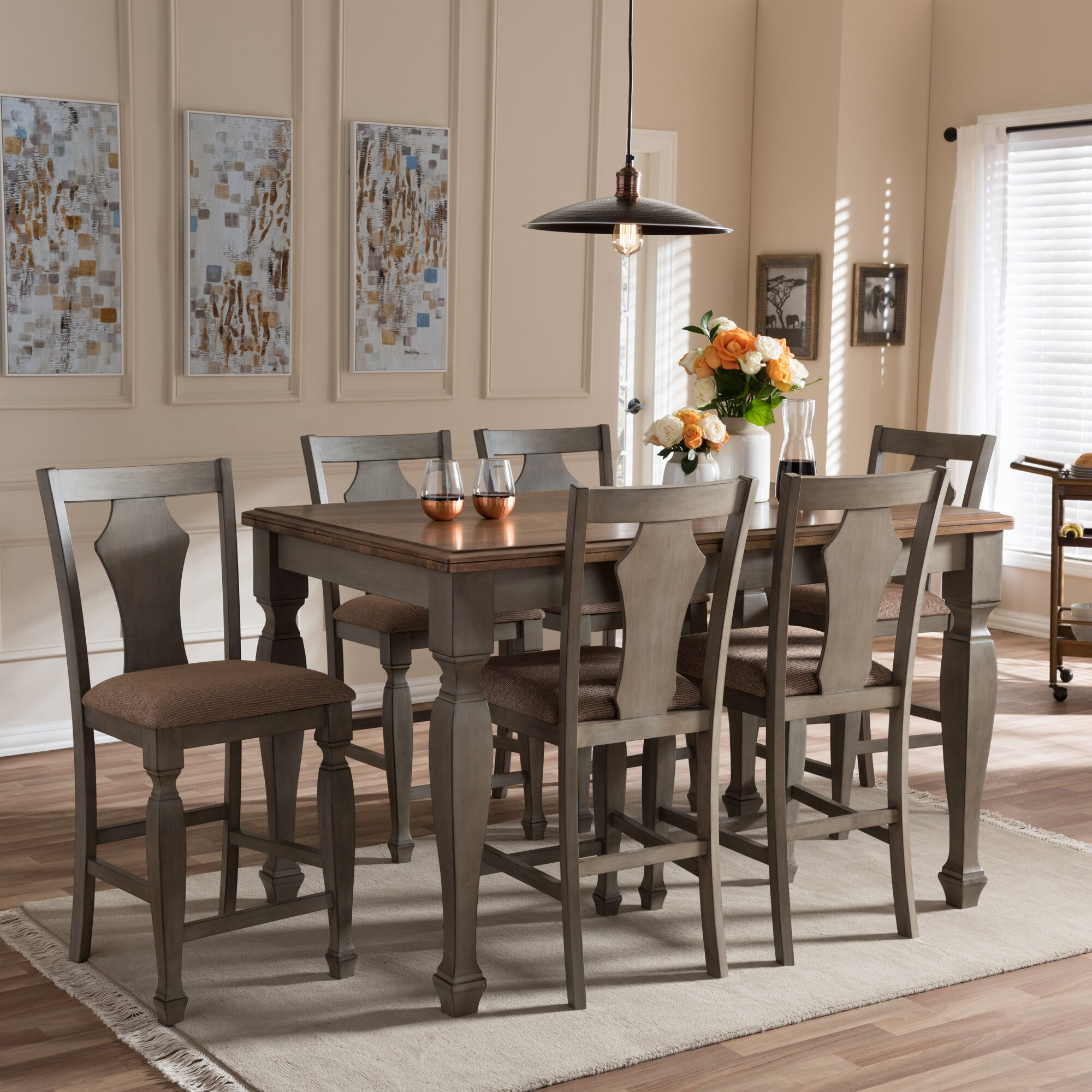 7 Piece Counter Height Dining Room Sets: Wholesale Interiors Baxton Studio Martina 7 Piece Counter