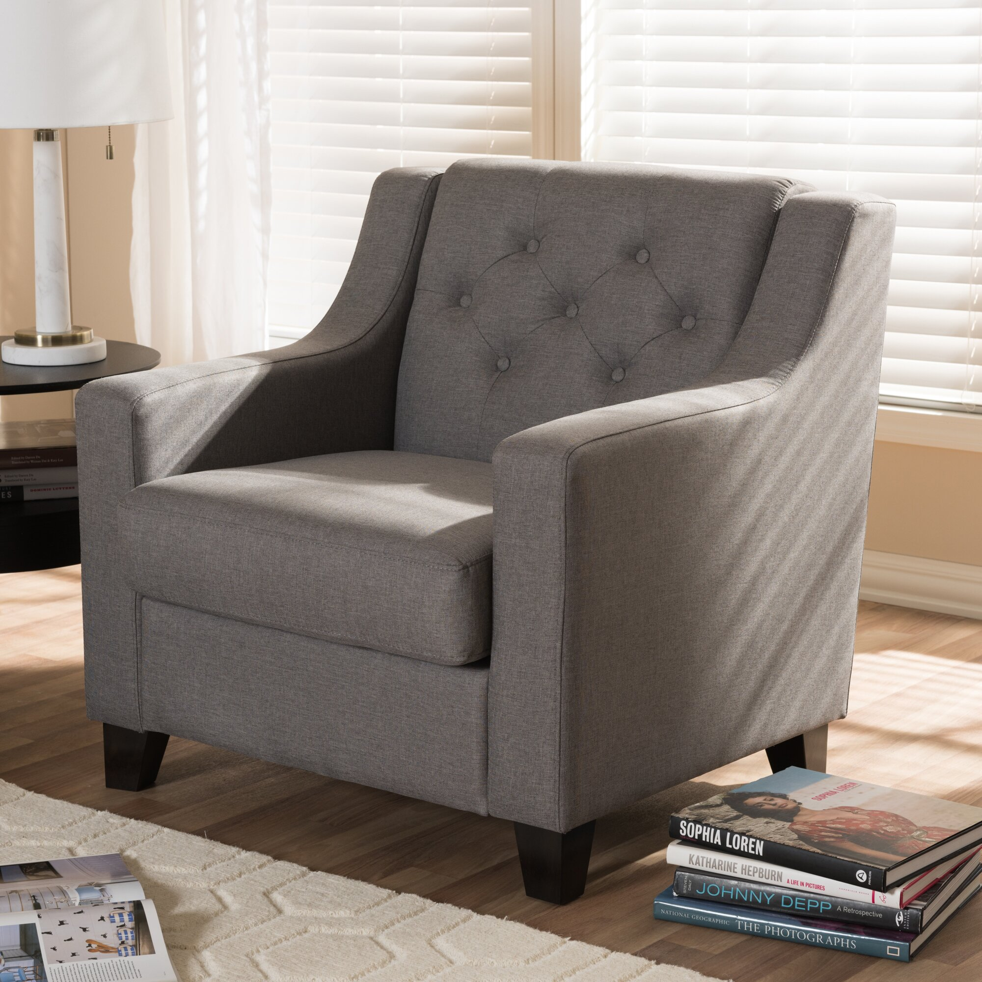 Wholesale interiors baxton studio silvia modern and - Modern upholstered living room chairs ...
