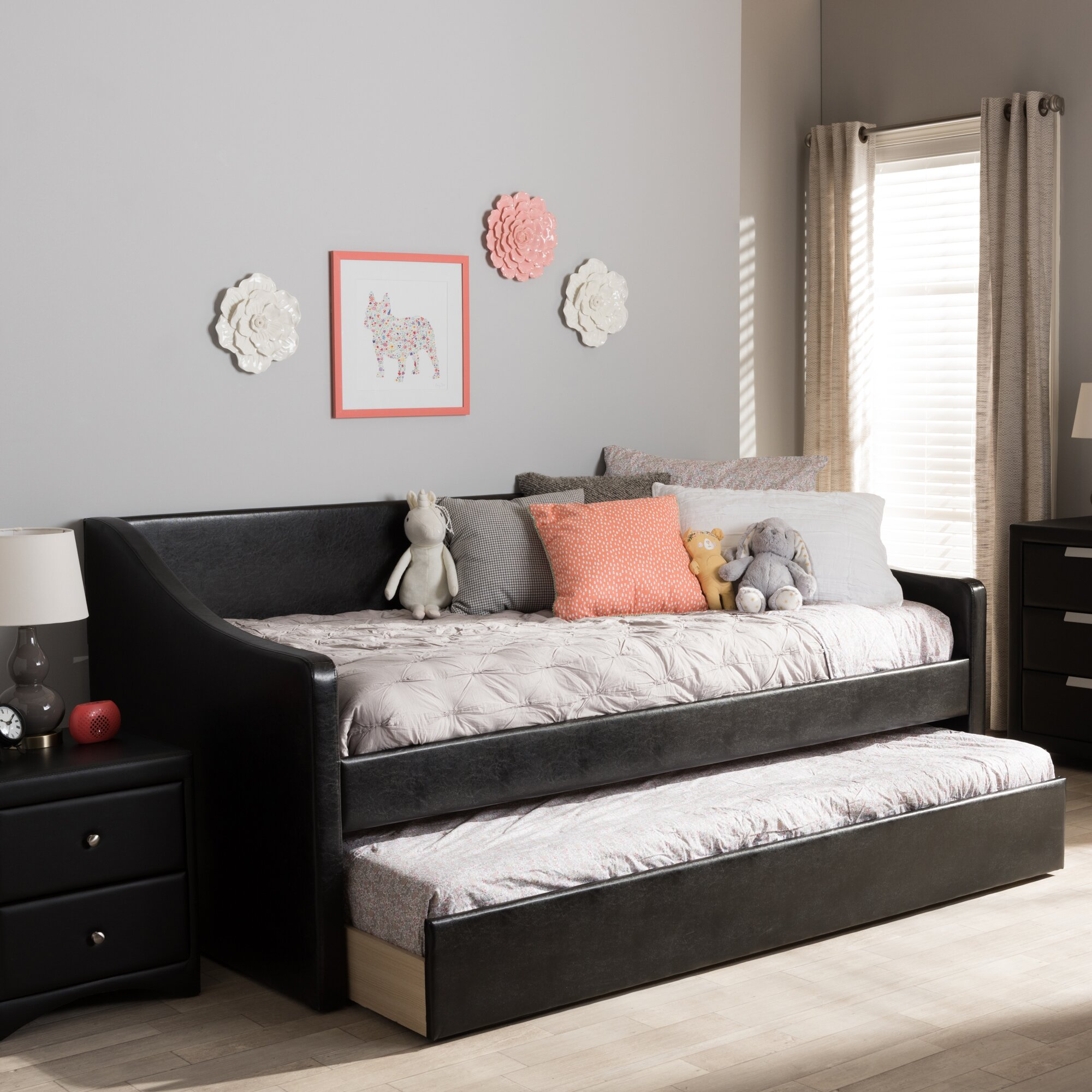 wholesale interiors baxton studio silvana daybed with trundle reviews wayfair. Black Bedroom Furniture Sets. Home Design Ideas