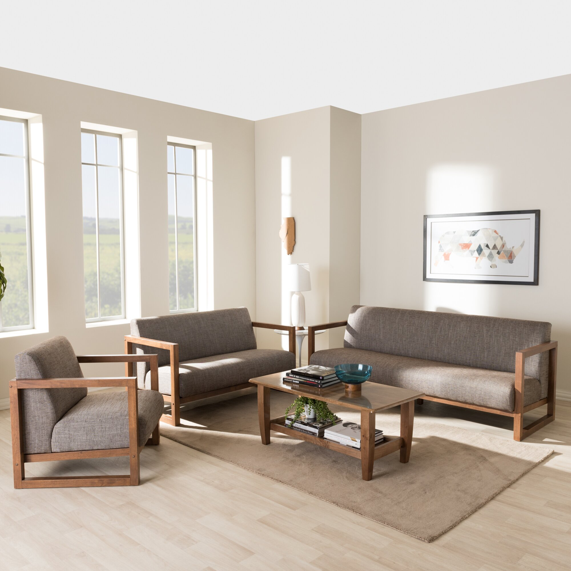 interiors baxton studio valencia mid century 3 piece living room set