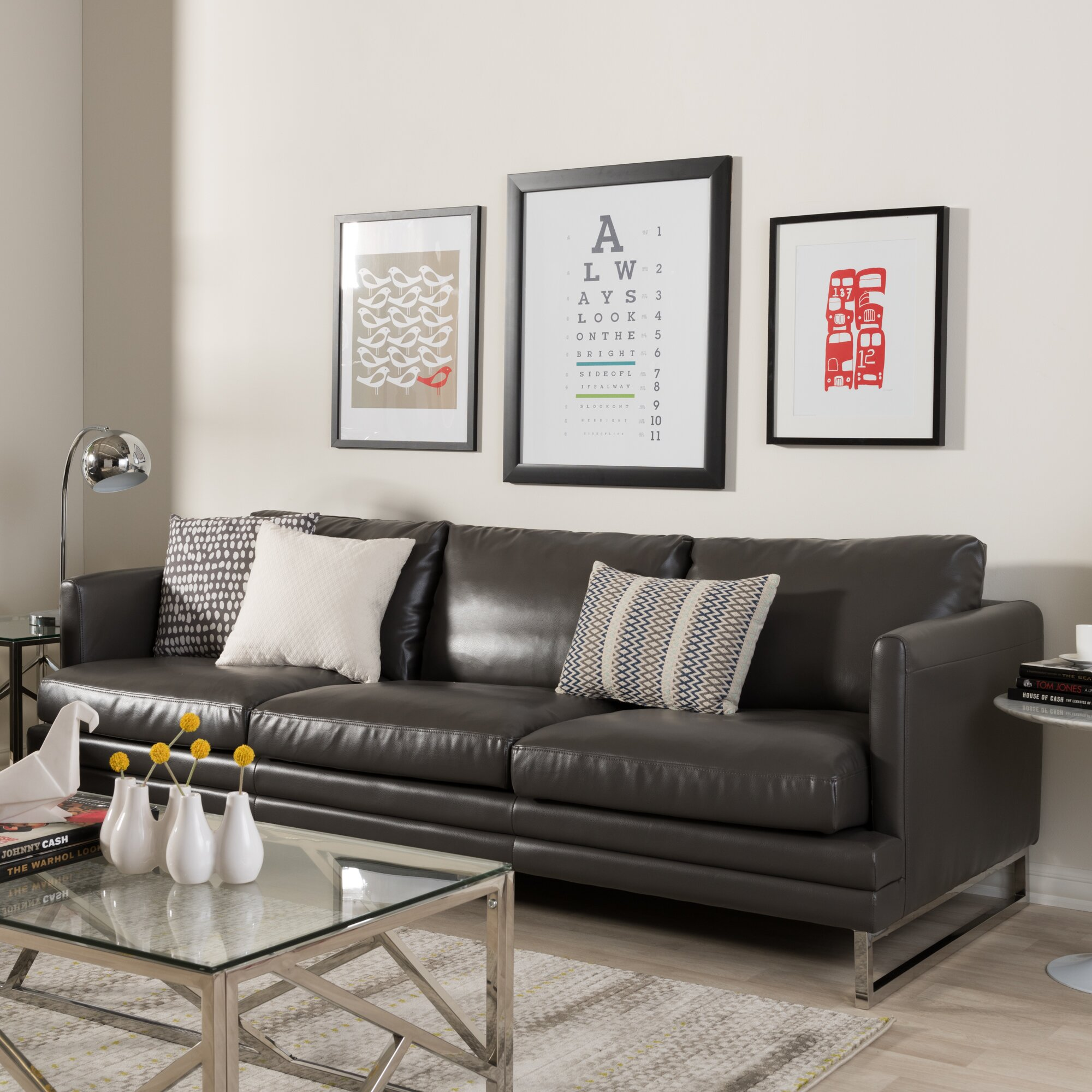 Wholesale interiors baxton studio dakota leather sofa for Baxton studio