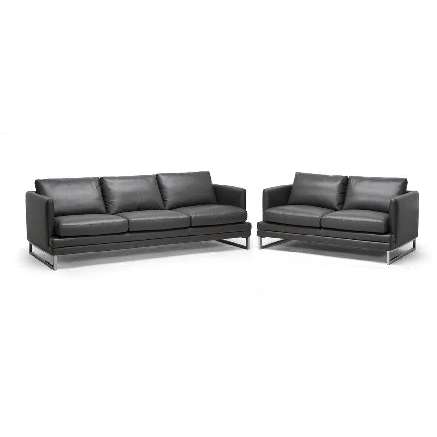 Wholesale interiors baxton studio dakota leather sofa for Discount leather furniture
