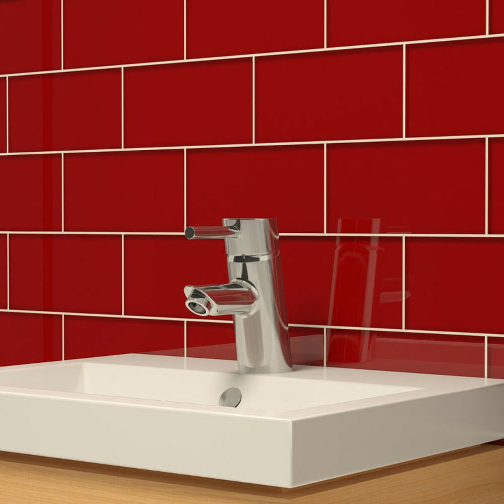 """Giorbello 3"""" X 6"""" Glass Subway Tile In Ruby Red & Reviews"""