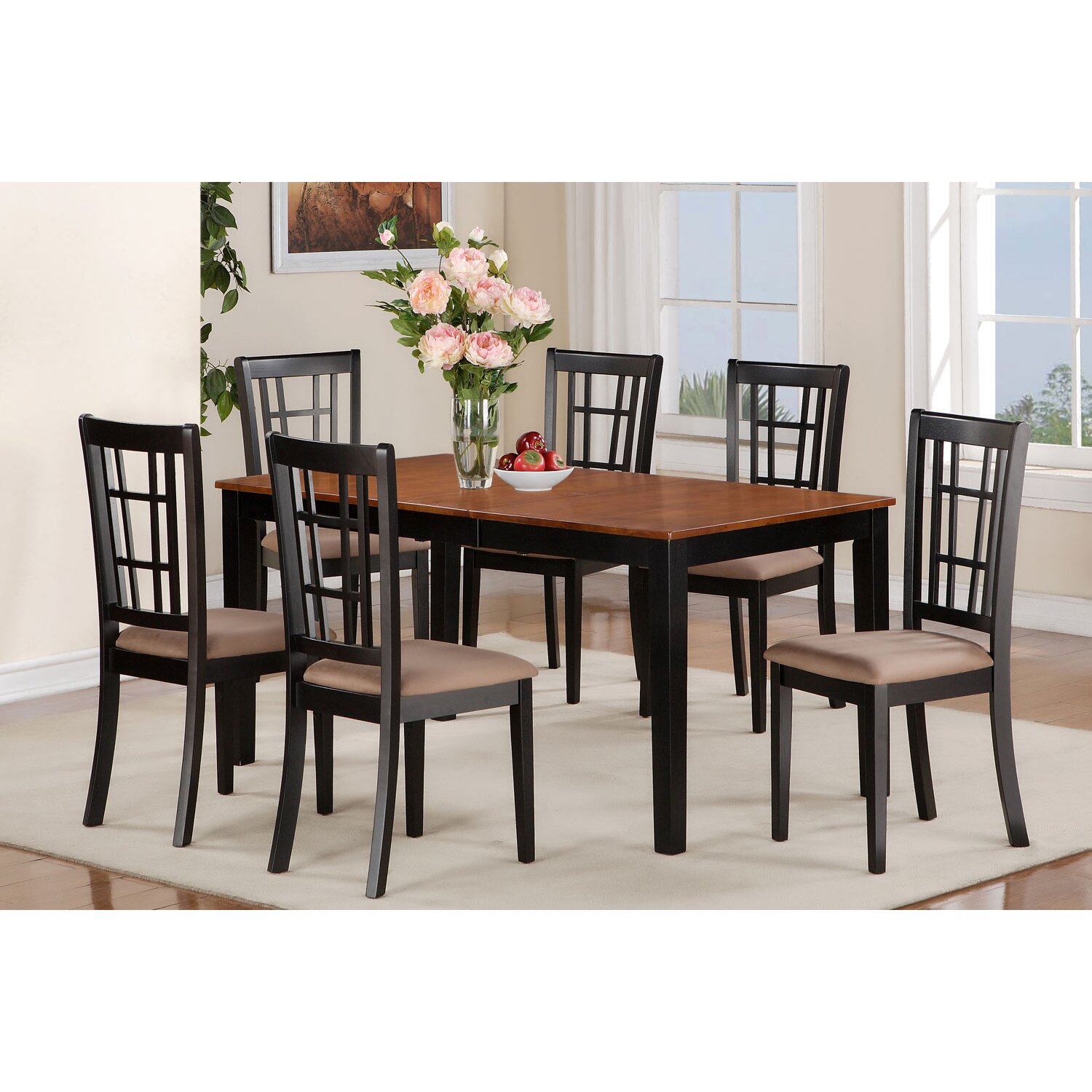 East west nicoli 7 piece dining set reviews wayfair for Kitchen dining room furniture