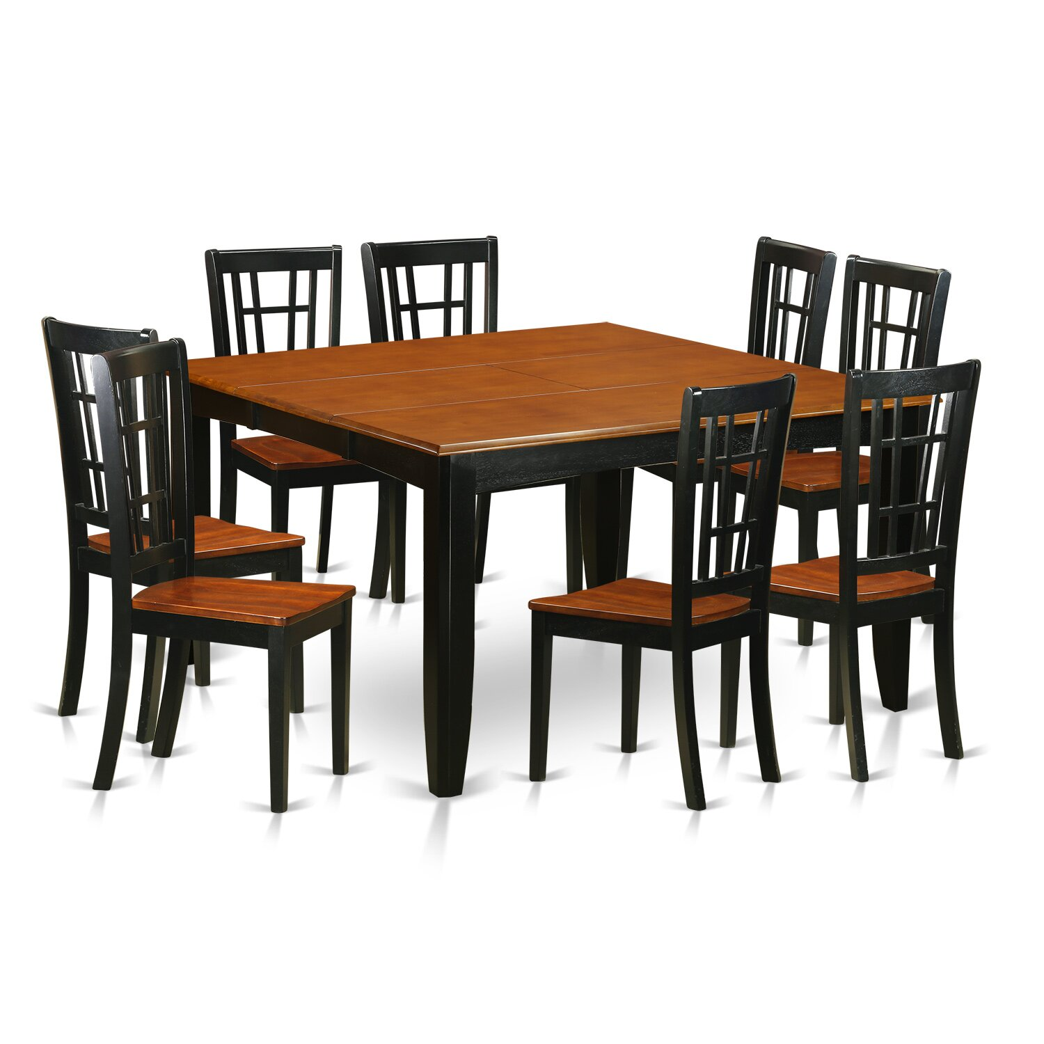 East west parfait 9 piece dining set wayfair for Solid wood dining table sets