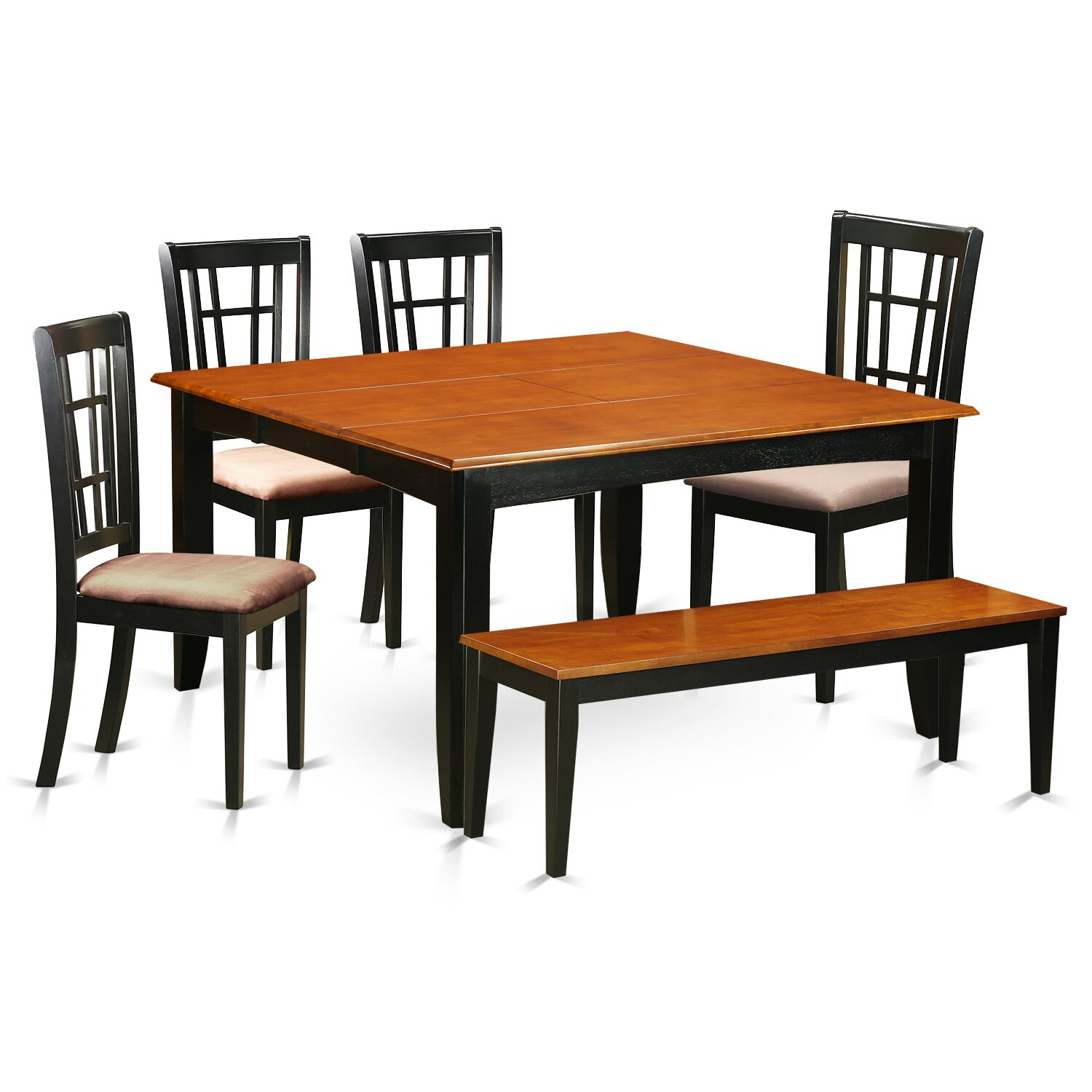 East west parfait 6 piece dining set wayfair for Solid wood dining room table and chairs