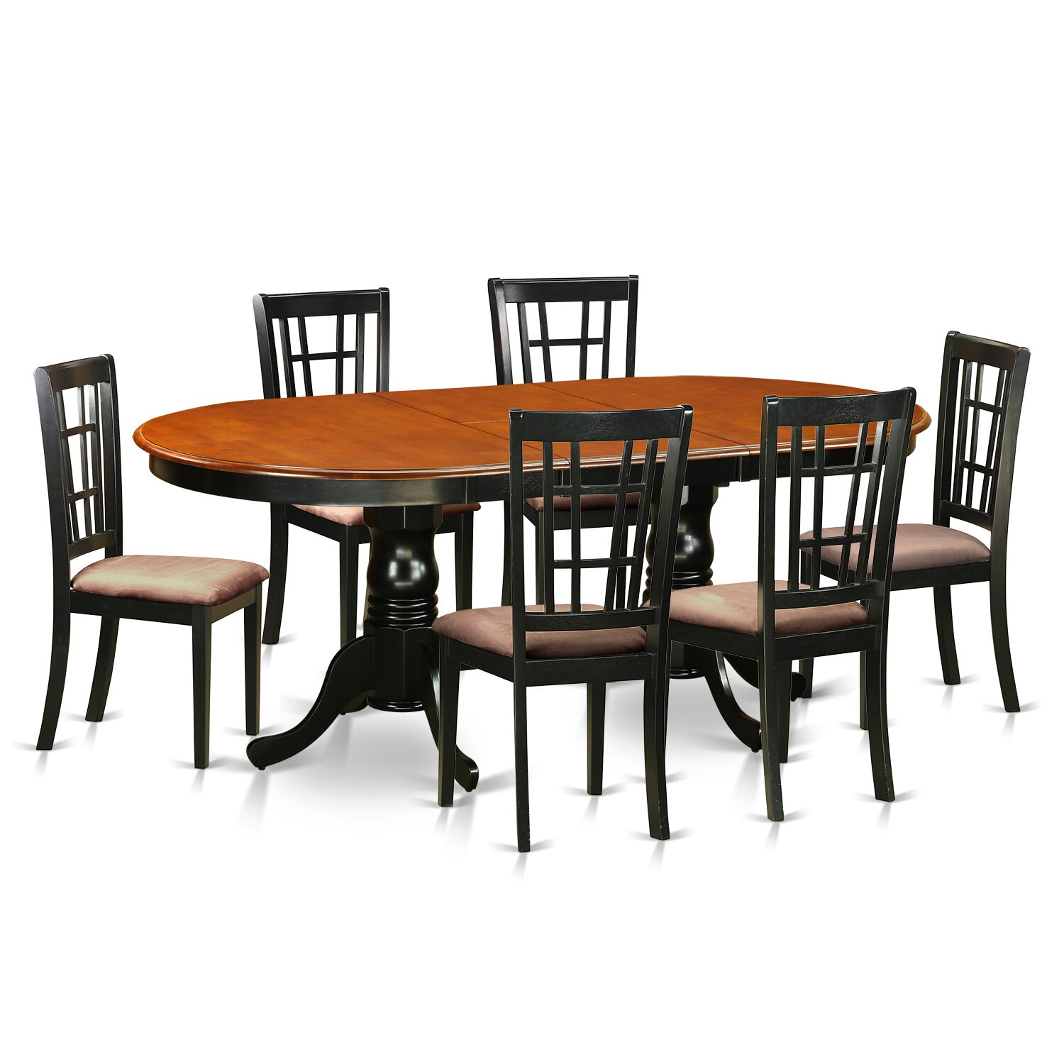East west plainville 7 piece dining set wayfair for Wood dining room furniture