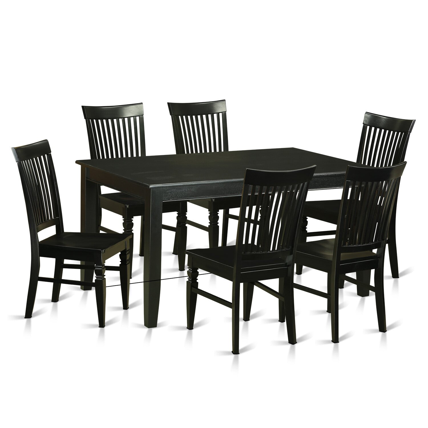 East west dudley 7 piece dining set wayfair for Kitchen table set 6 chairs