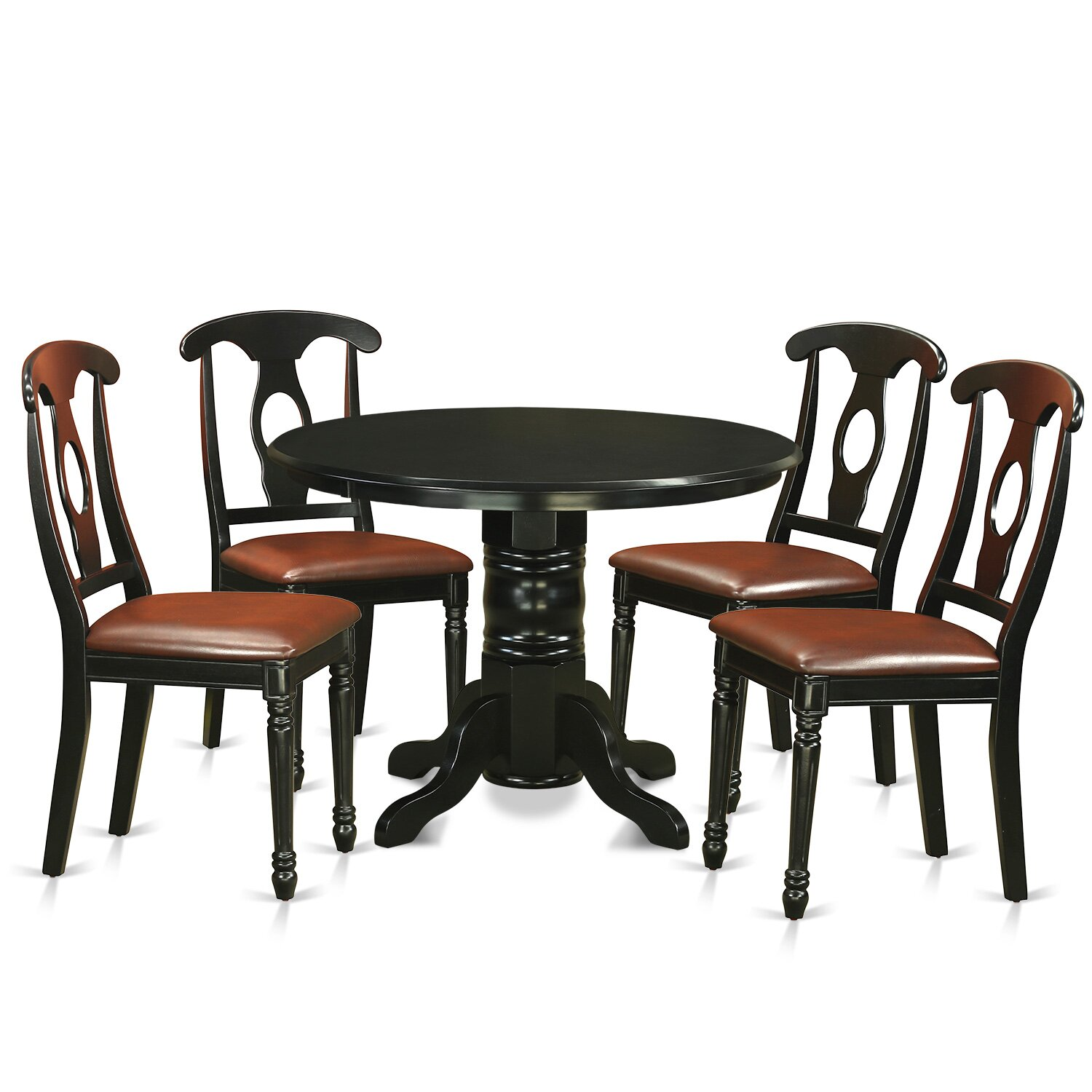 East west shelton 5 piece dining set reviews wayfair for Four chair dining table set