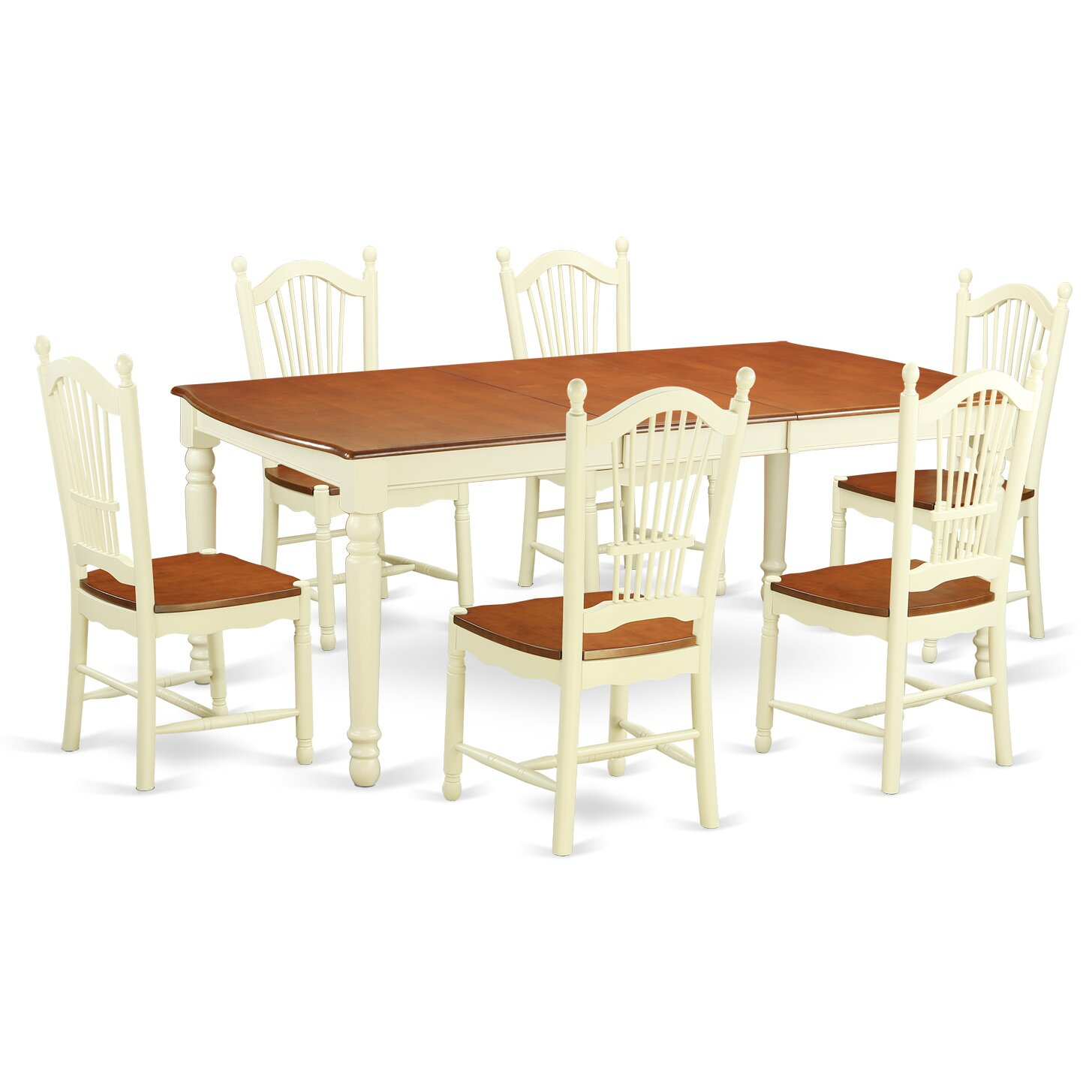 East west dover 7 piece dining set reviews wayfair for Kitchen table set 6 chairs