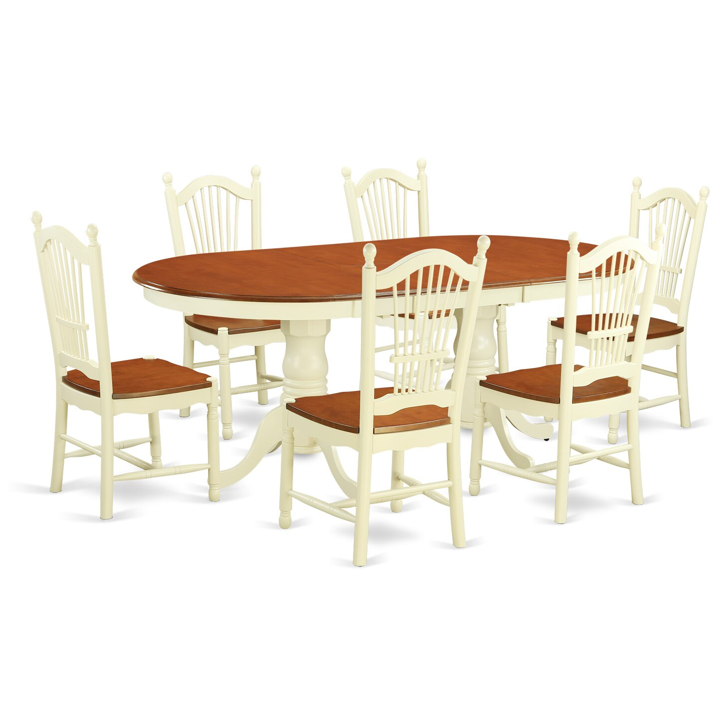 East west plainville 7 piece dining set reviews wayfair for Kitchen table set 6 chairs