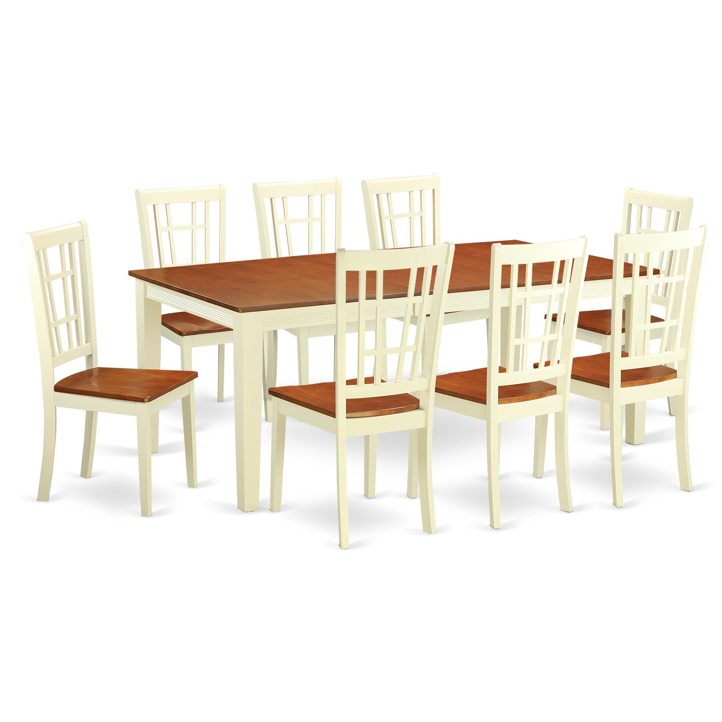 East west quincy 9 piece dining set wayfair for Kitchen dining room furniture