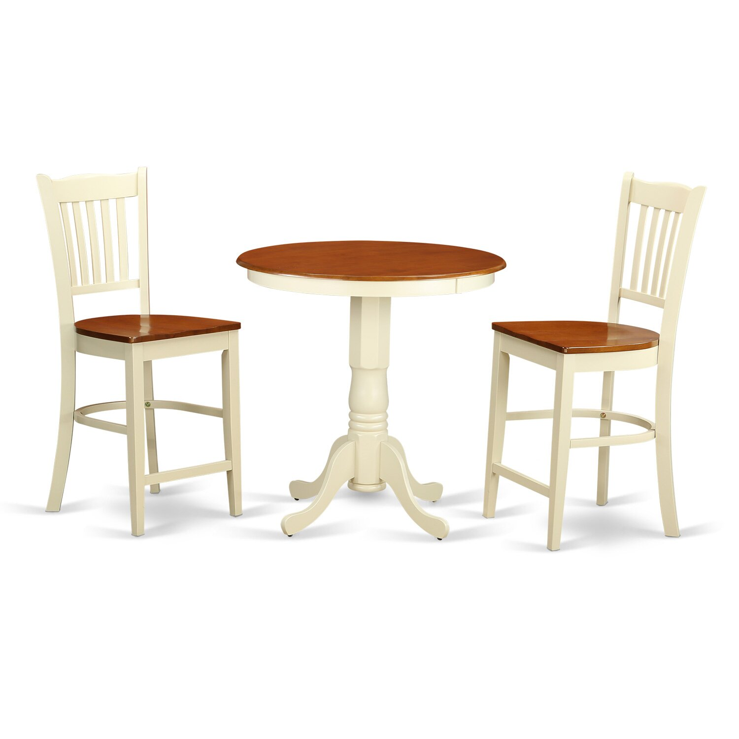 Roundhill Furniture 3 Piece Counter Height Pub Table Set: East West Eden 3 Piece Counter Height Pub Table Set