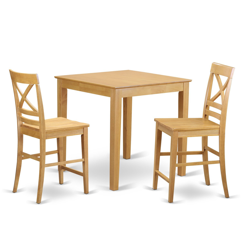 East West 3 Piece Counter Height Pub Table Set Wayfair