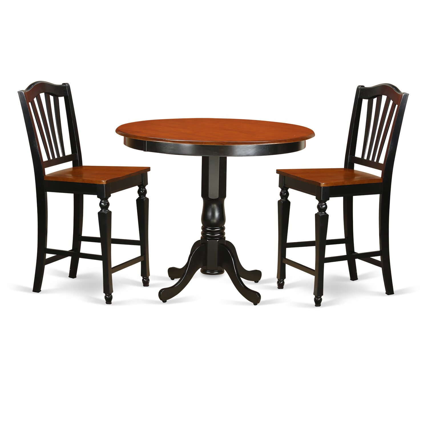 East West Trenton 3 Piece Counter Height Pub Table Set
