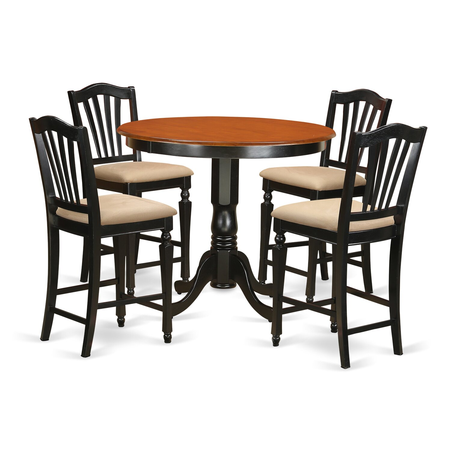 East West Trenton 5 Piece Counter Height Pub Table Set