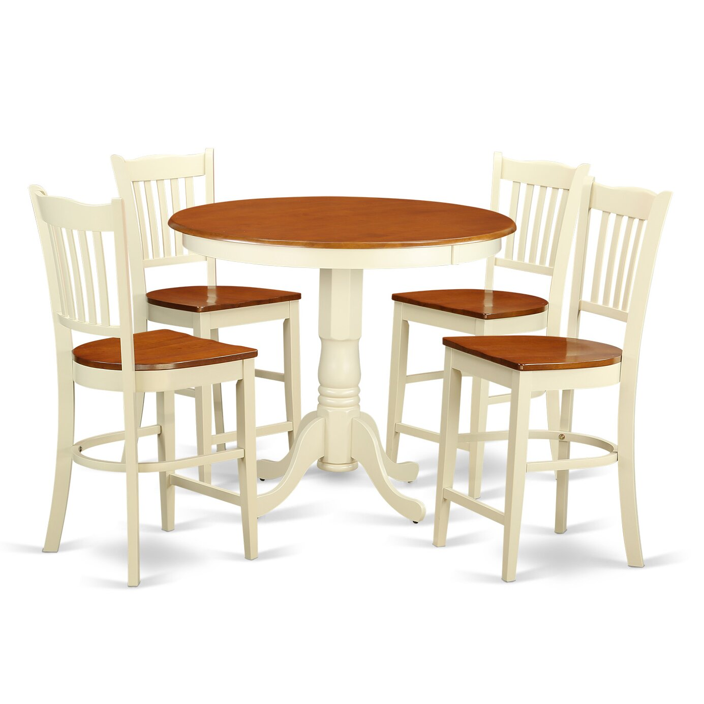 East west jackson 5 piece counter height pub table set for Table and bar stools