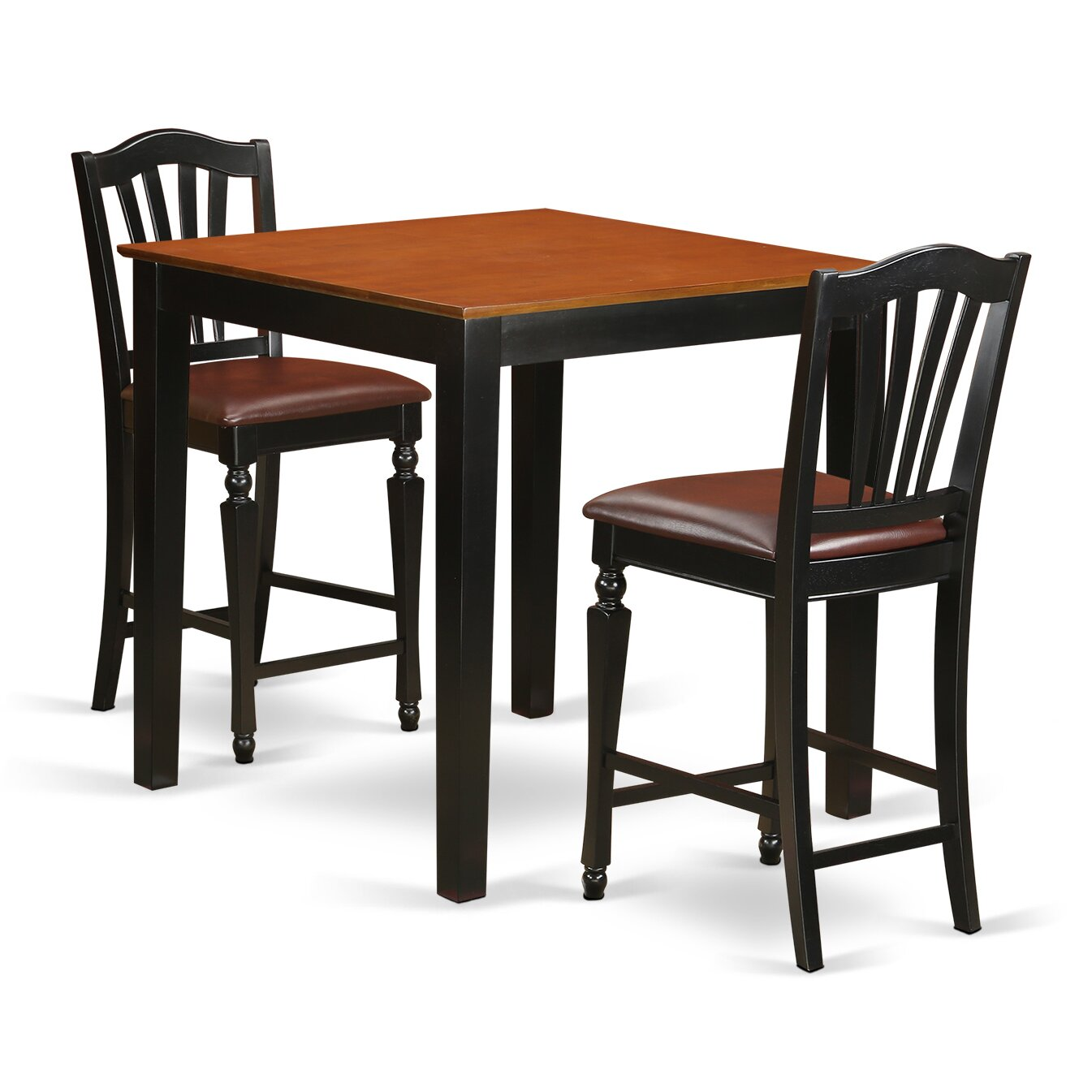 Roundhill Furniture 3 Piece Counter Height Pub Table Set: East West 3 Piece Counter Height Pub Table Set