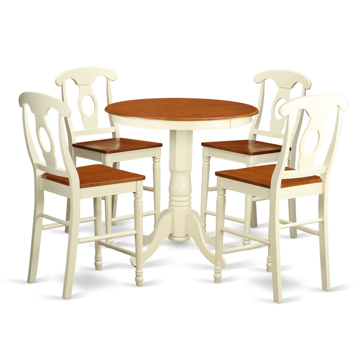 East west eden 5 piece counter height pub table set wayfair for Dining room sets 4 chairs
