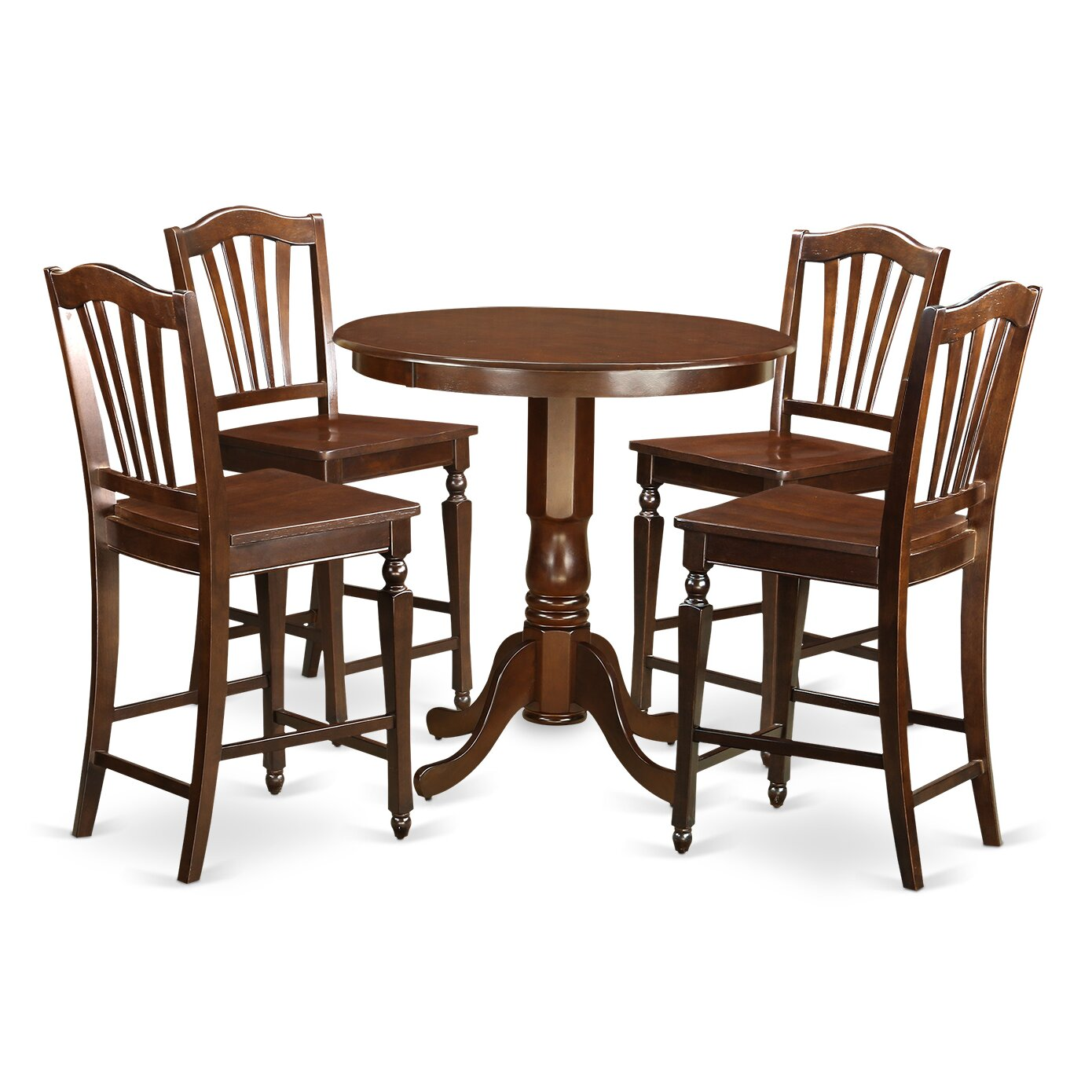 East west jackson 5 piece counter height pub table set for High table and chairs dining set