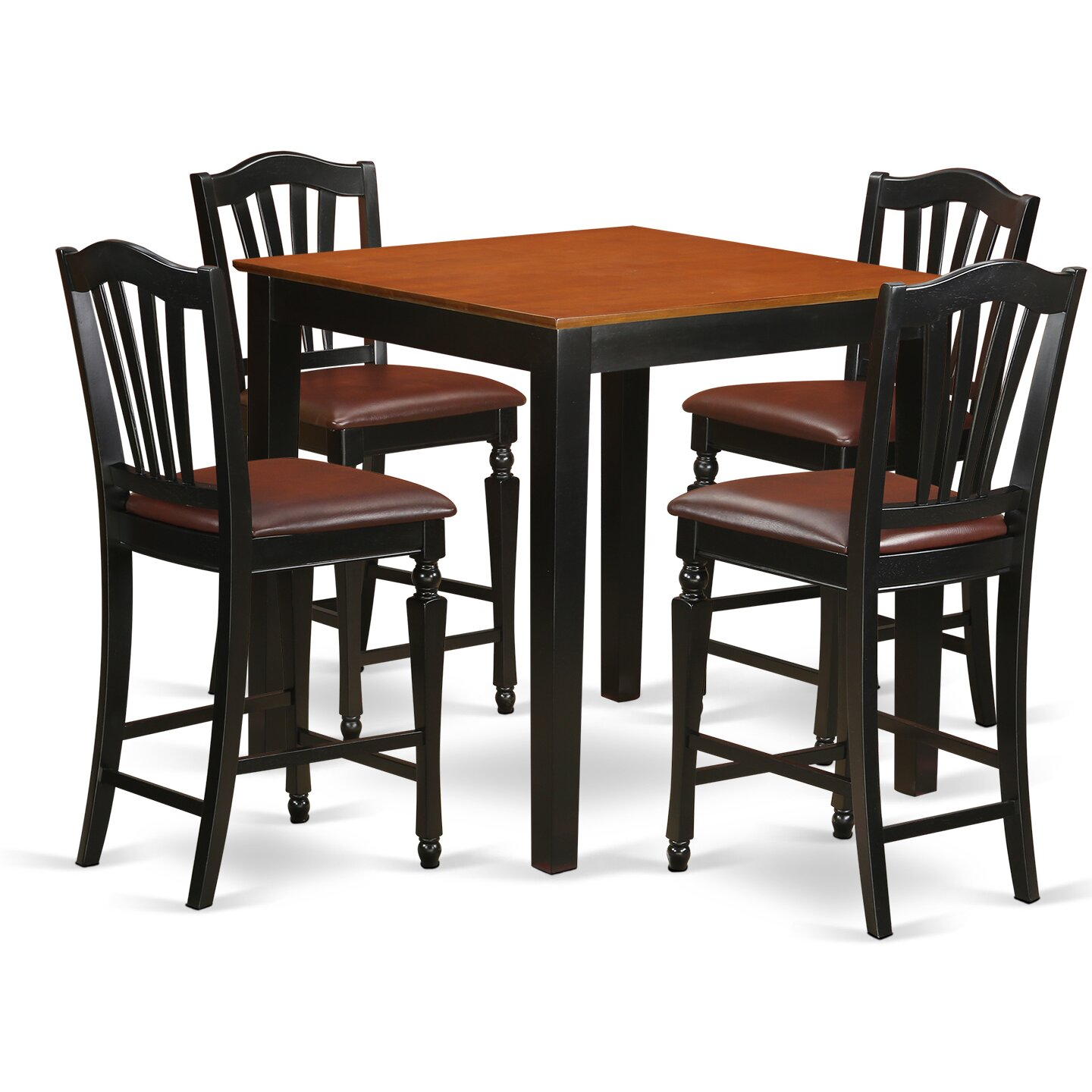 east west 5 piece counter height pub table set wayfair. Black Bedroom Furniture Sets. Home Design Ideas