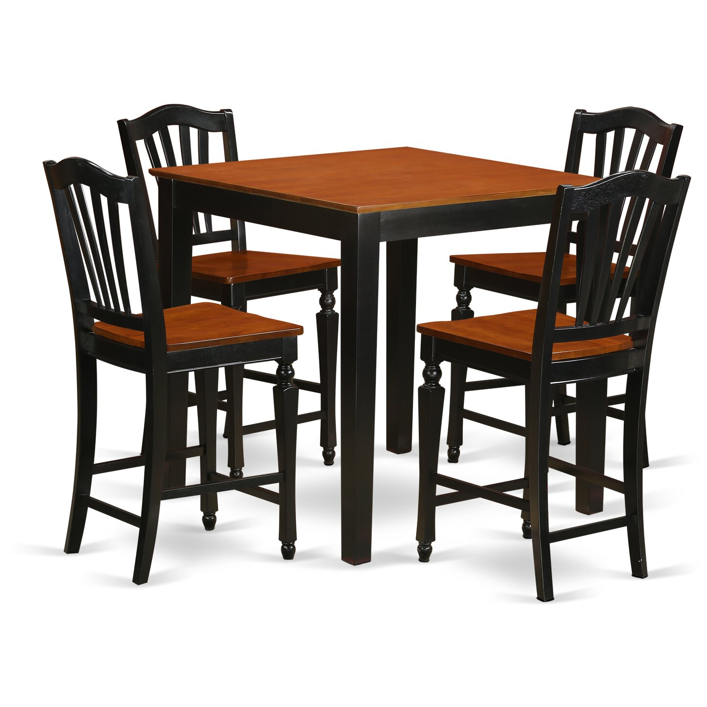 East west 5 piece counter height pub table set wayfair for High top kitchen table set