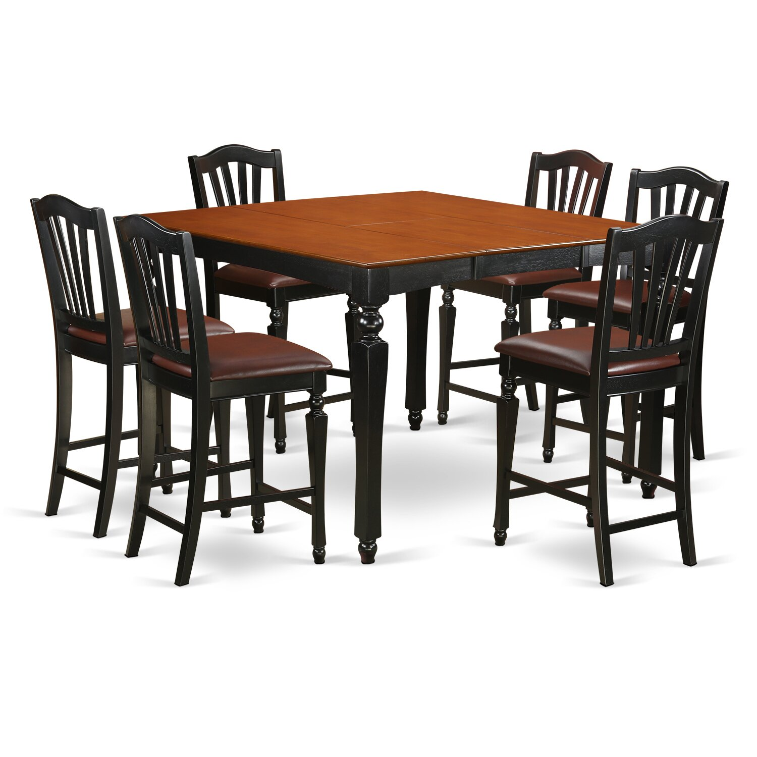 East west chelsea 7 piece counter height dining set for 7 piece dining room set counter height