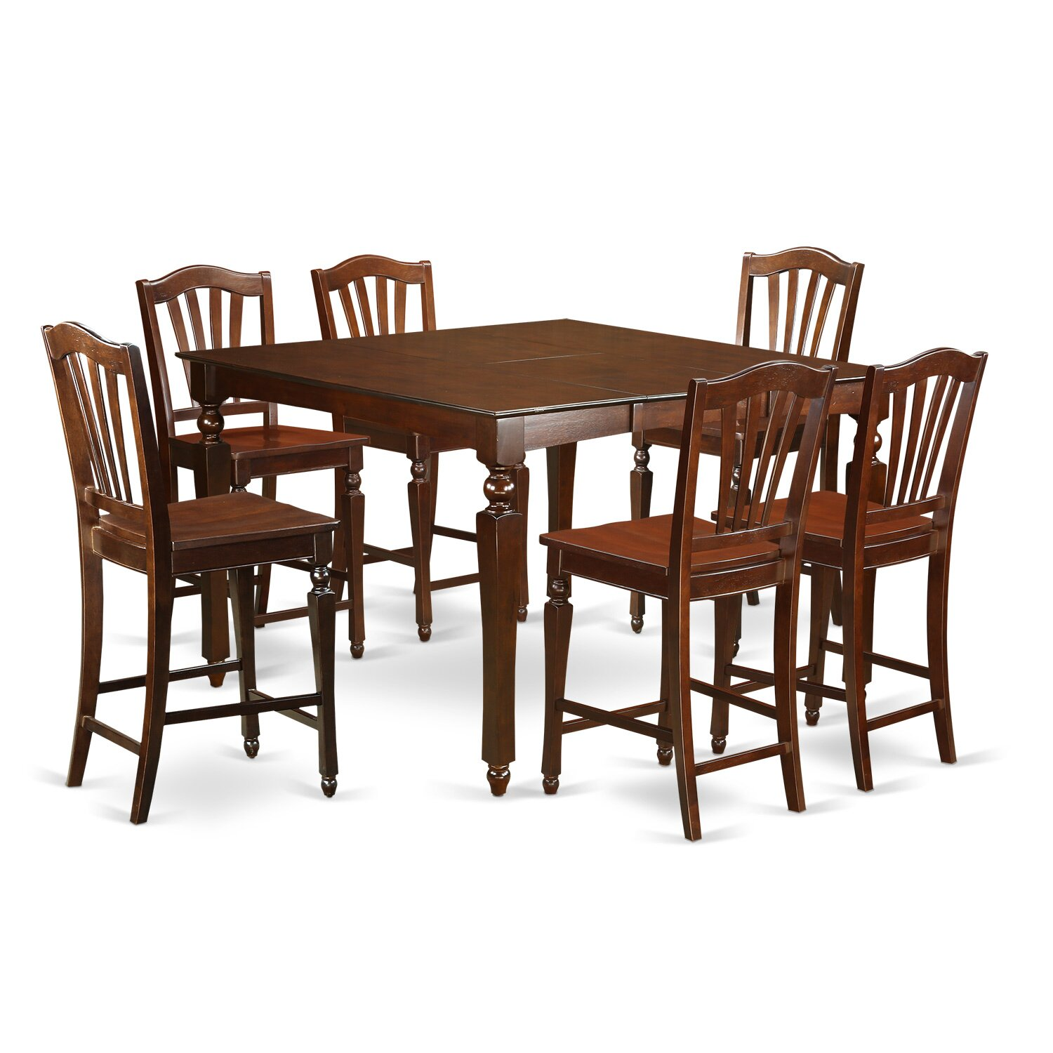 East west chelsea 7 piece counter height dining set amp for Furniture 7 credit reviews