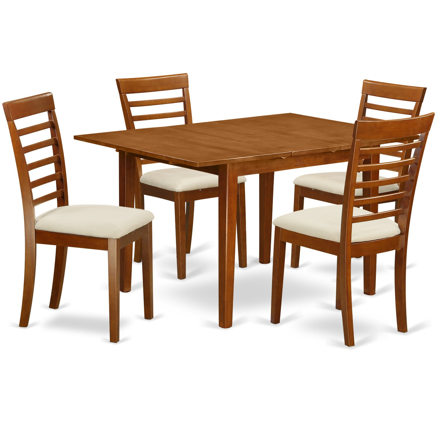East west milan 5 piece dining set wayfair for Small table and 4 chair set