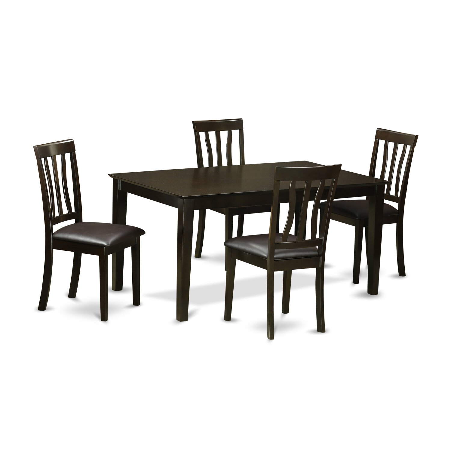 Wooden importers capri 5 piece dining set wayfair for 5 chair dining table