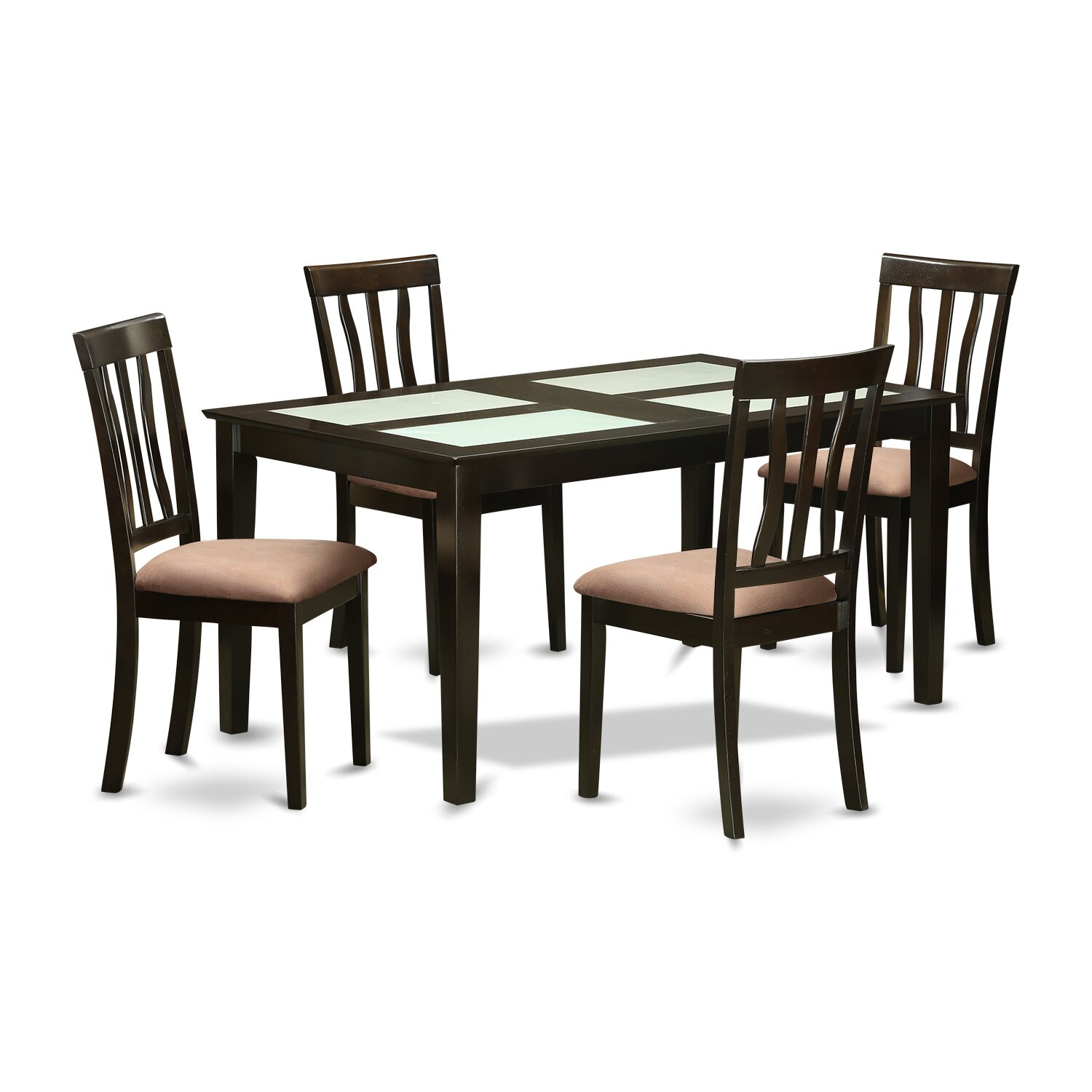 Wooden importers capri 5 piece dining set wayfair for Glass dining room table set