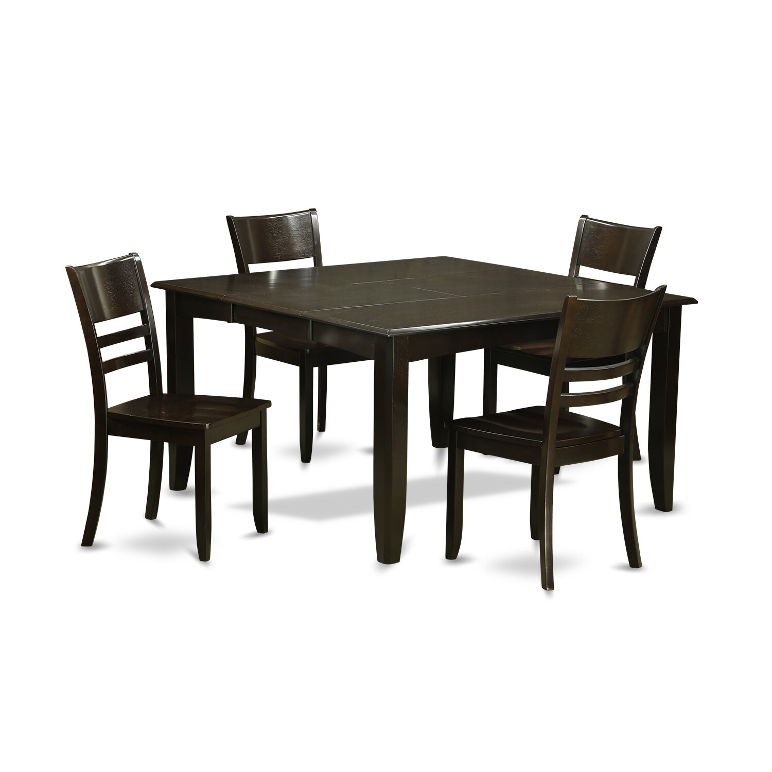 Wooden importers parfait 5 piece dining set wayfair for Wooden dining room chairs
