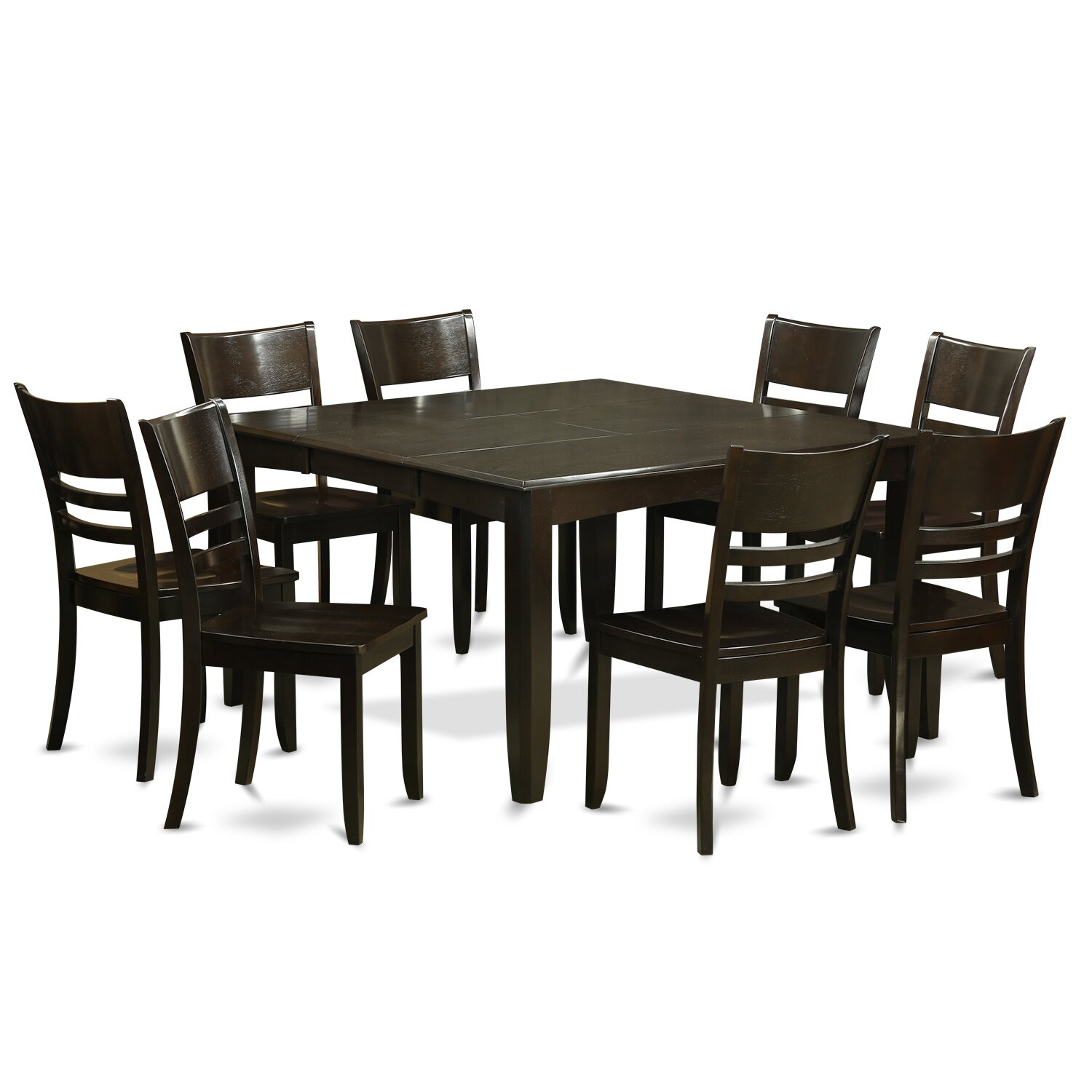 9 PC Dining Room Table Set Kitchen Table with Leaf and 8 Kitchen Chairs PFLY9 CAP W WOIM