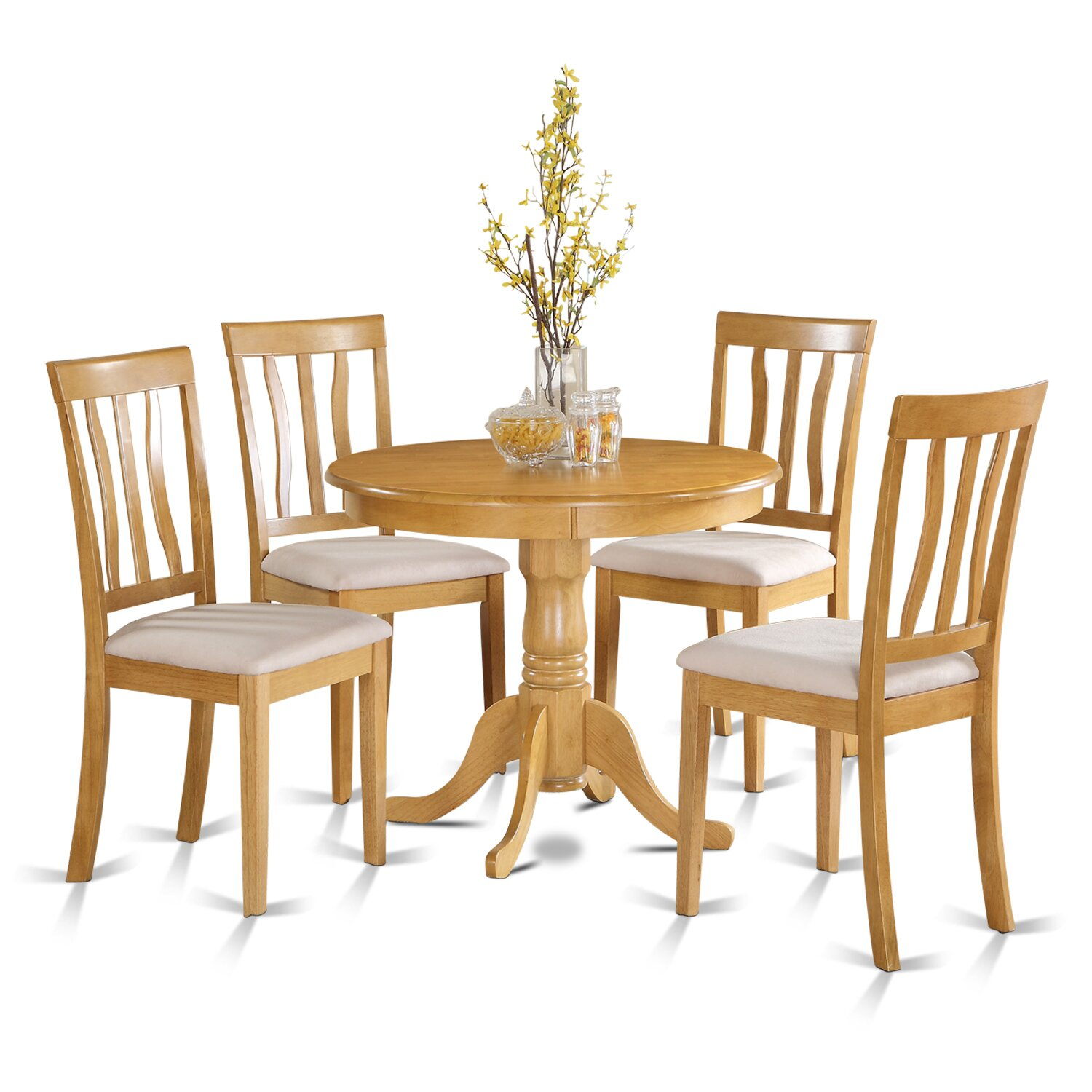 Wooden importers 5 piece dining set reviews wayfair for Small table and stool set