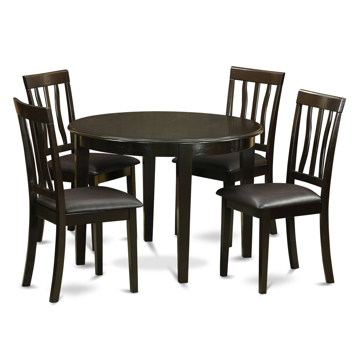 Round Kitchen Table And Chairs: Wooden Importers Boston 5 Piece Dining Set