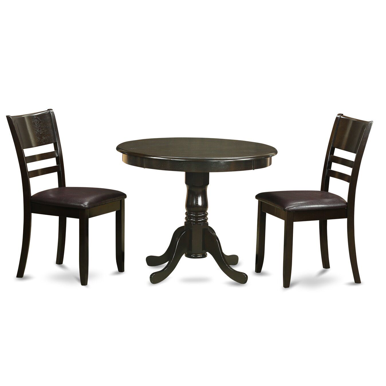 Wooden importers 3 piece dining set wayfair for Round dining table and chairs