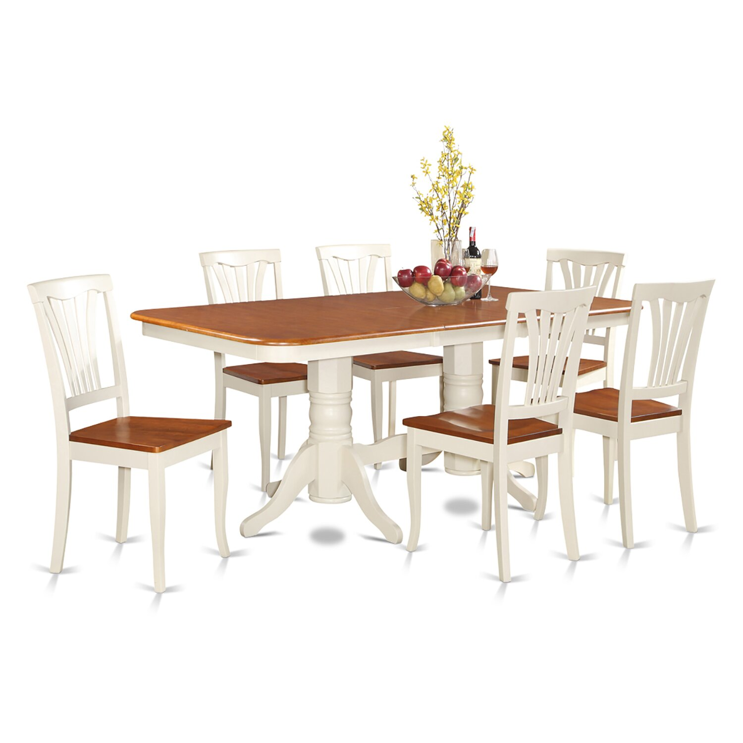 7 PC Dining Room Set Dining Table with a Leaf and 6 Dining Room Chairs NAAV7 WHI W WOIM
