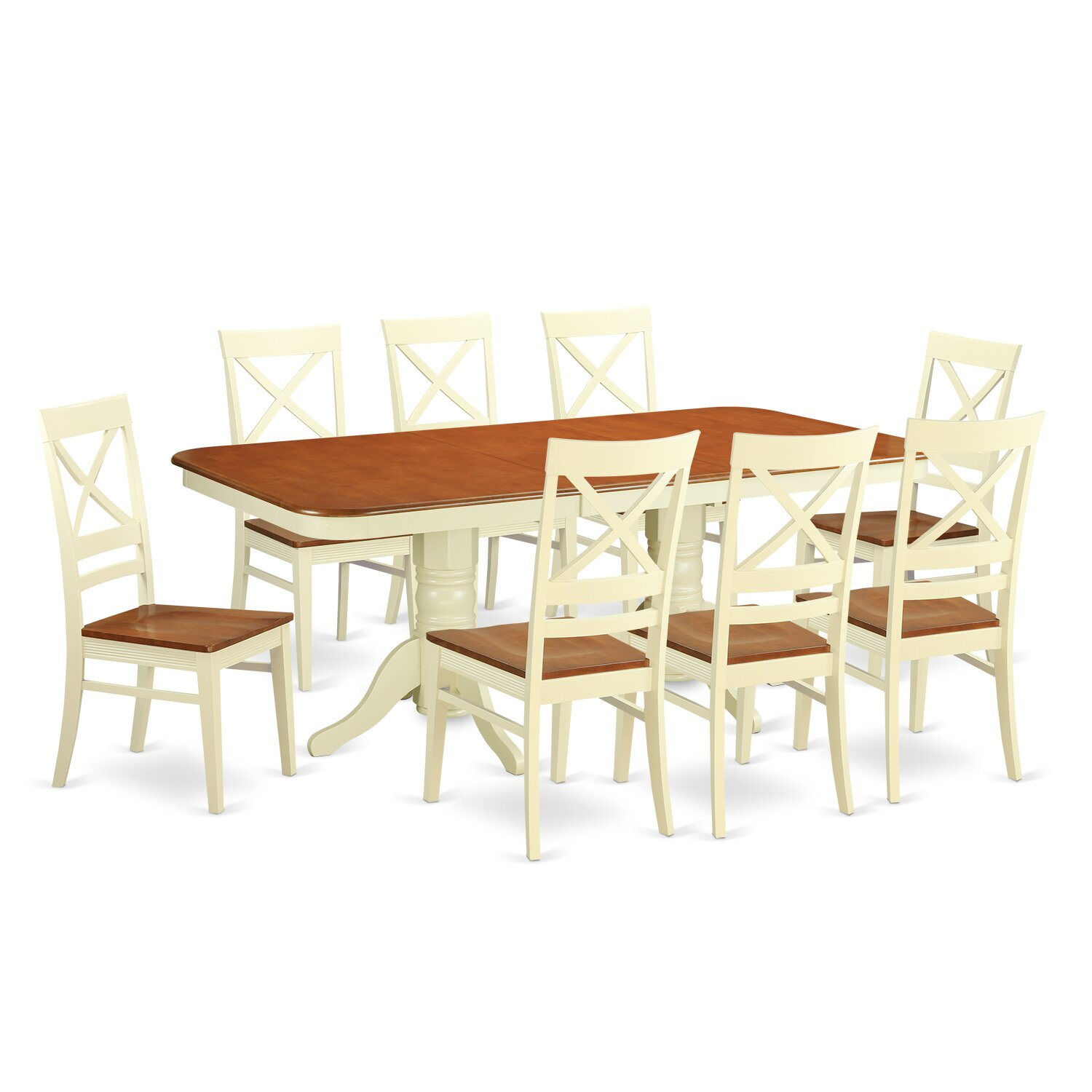 Wooden importers napoleon 9 piece dining set wayfair for Dining room furniture 9 piece