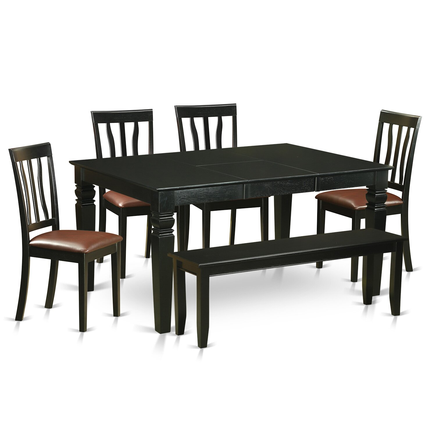 Wooden importers weston 6 piece dining set wayfair for Dining room table and bench set