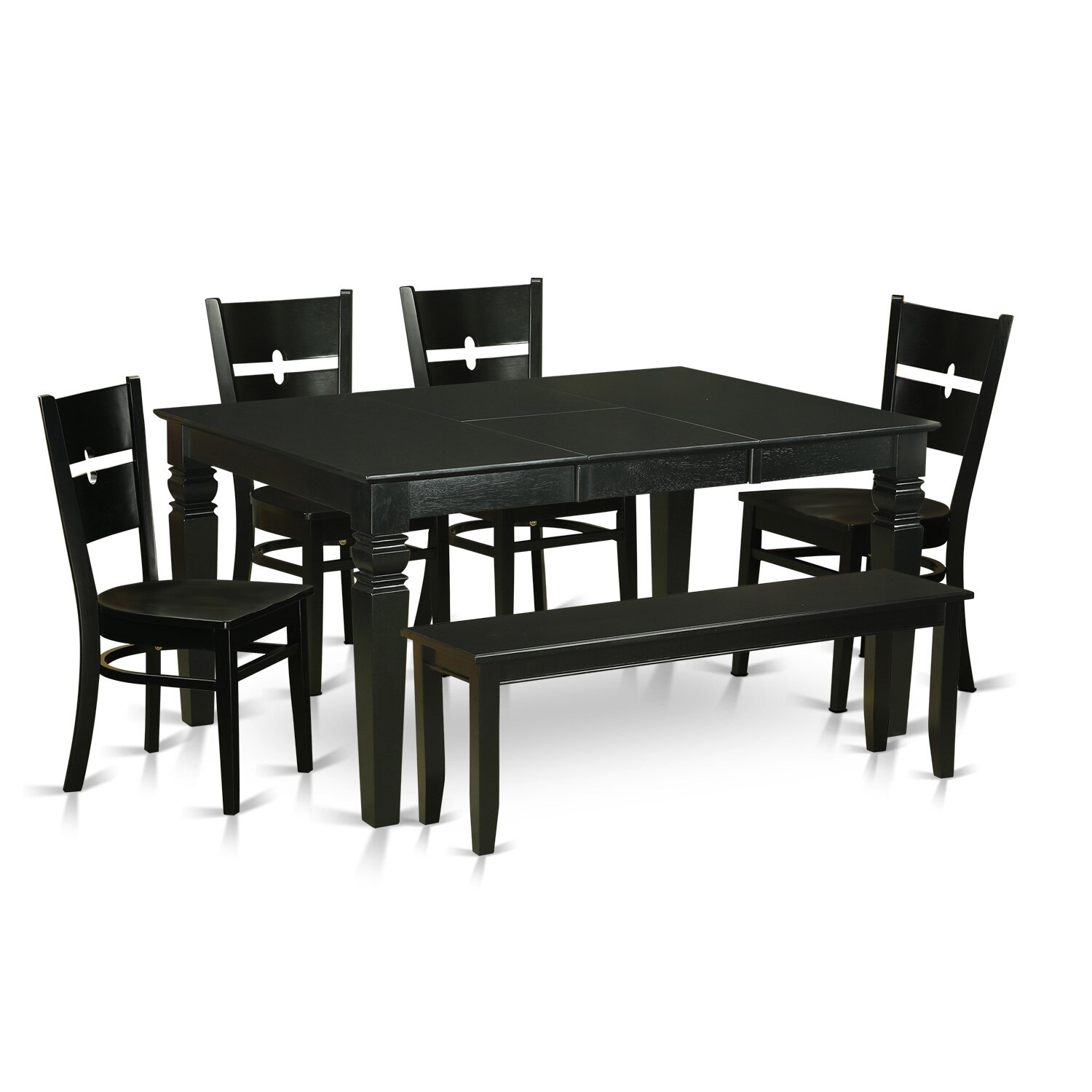 Wooden importers weston 6 piece dining set wayfair for Small dining table and bench set