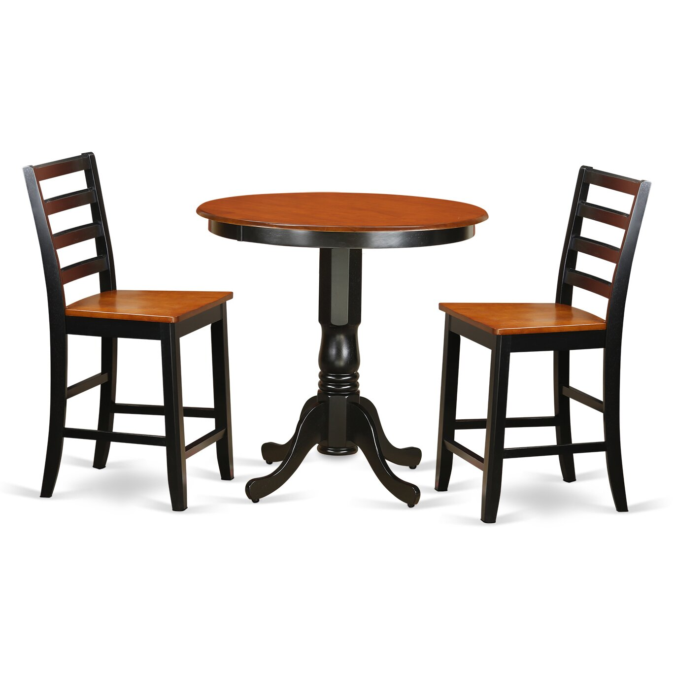 Wooden importers jackson 3 piece counter height pub table for Table and chair set