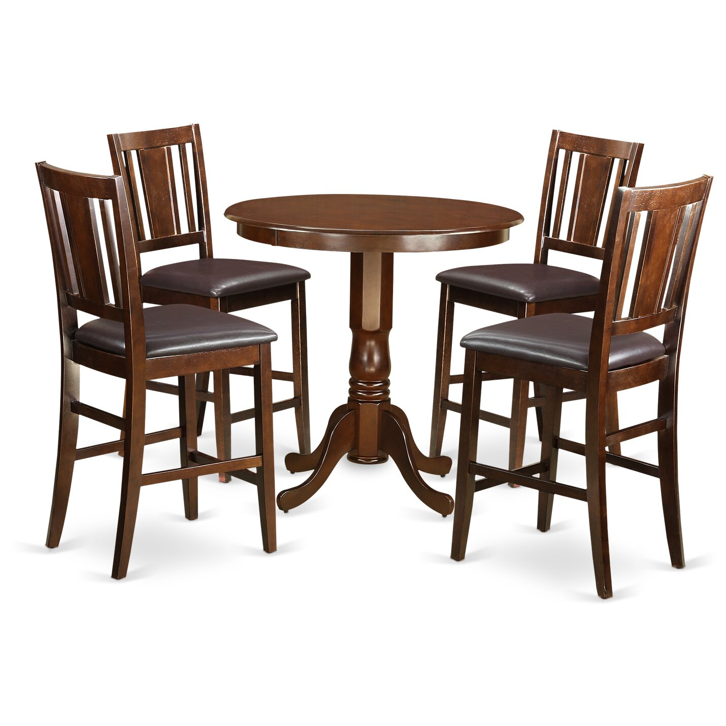 Wooden importers jackson 5 piece counter height pub table - Bar height pub table and chairs ...