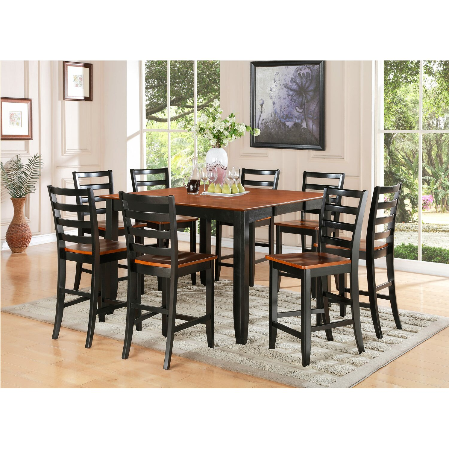 Wooden importers parfait 9 piece counter height dining set for Tall dinner table set