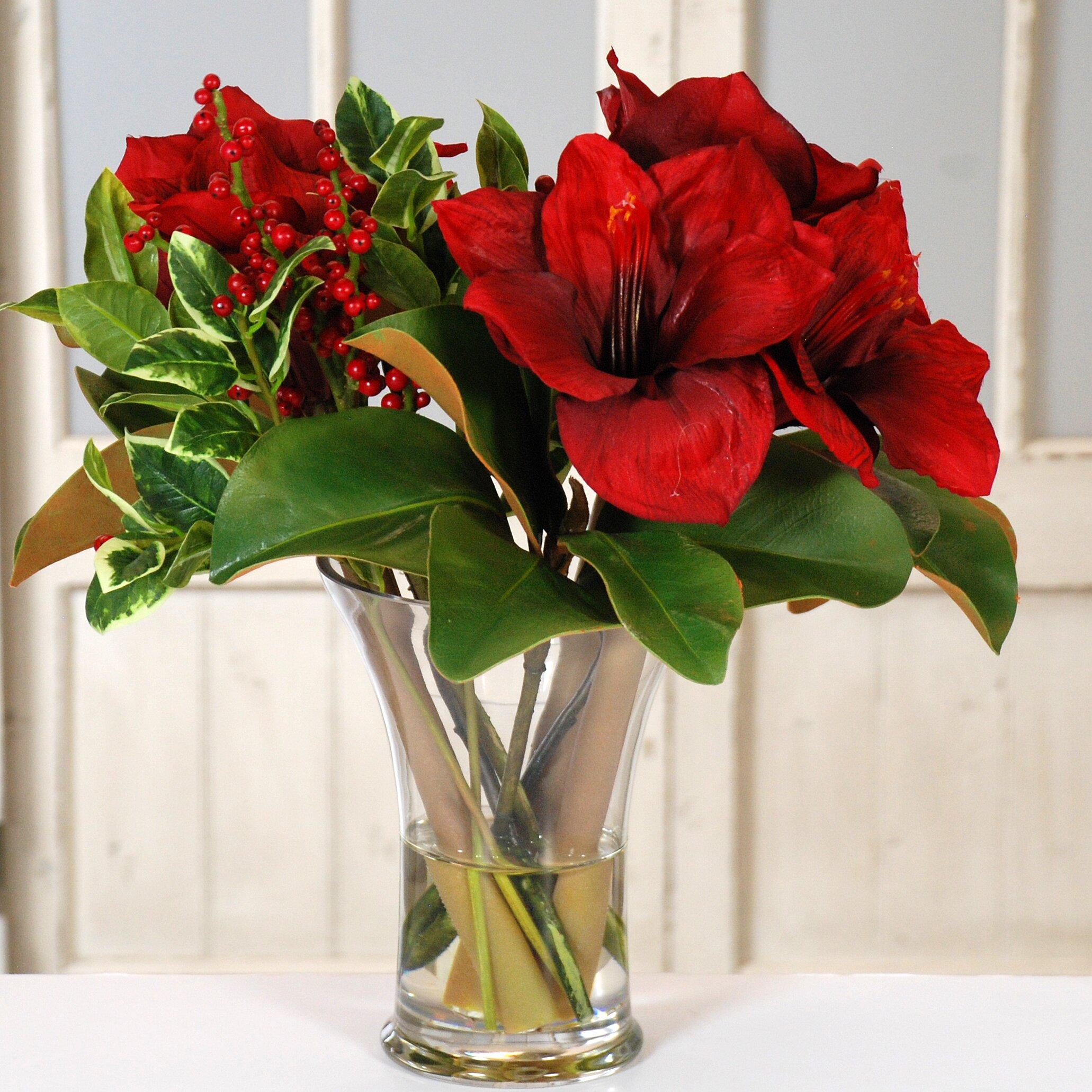 Jane seymour botanicals amaryllis holiday glass vase tall